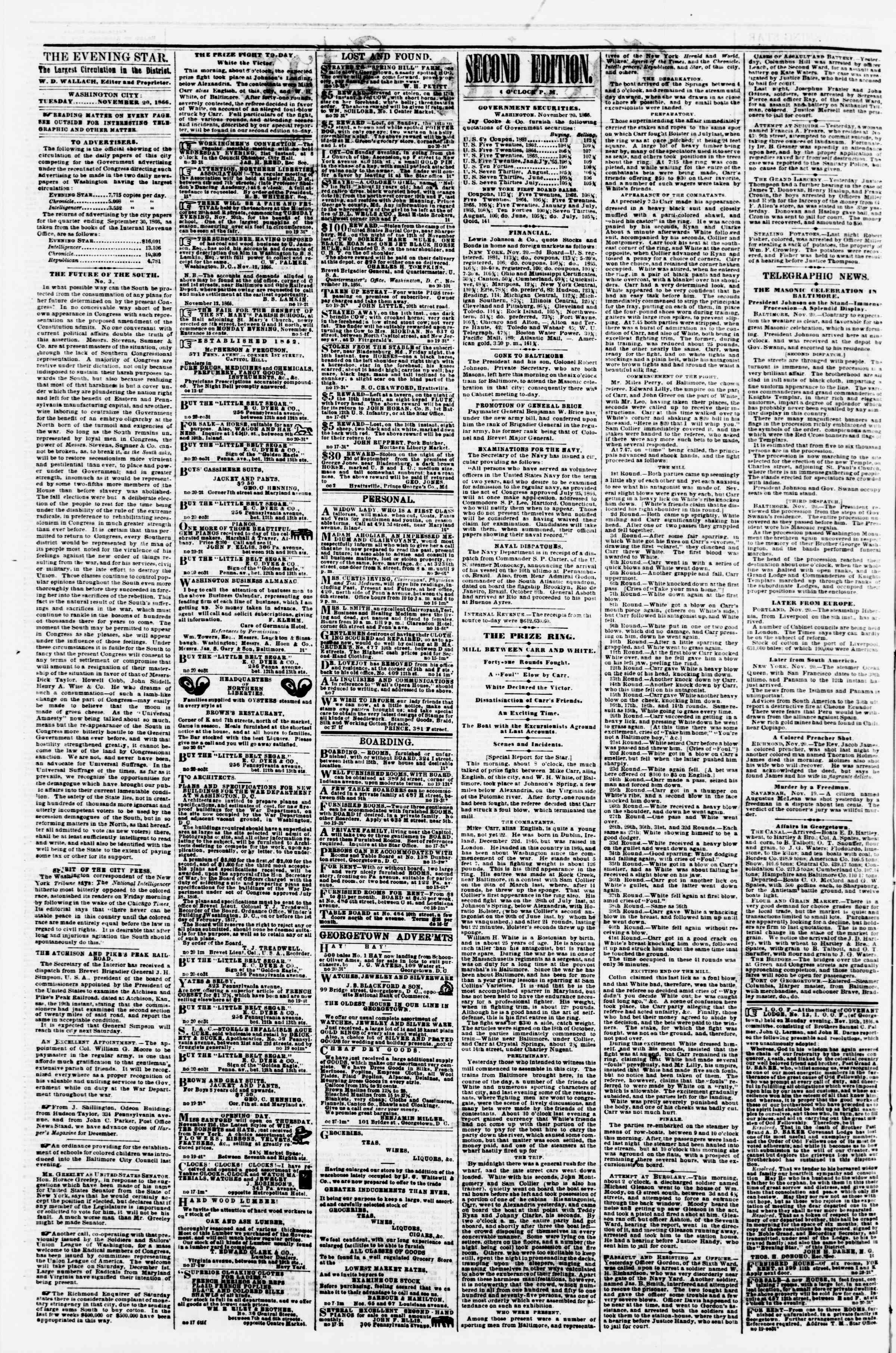 Newspaper of Evening Star dated November 20, 1866 Page 2
