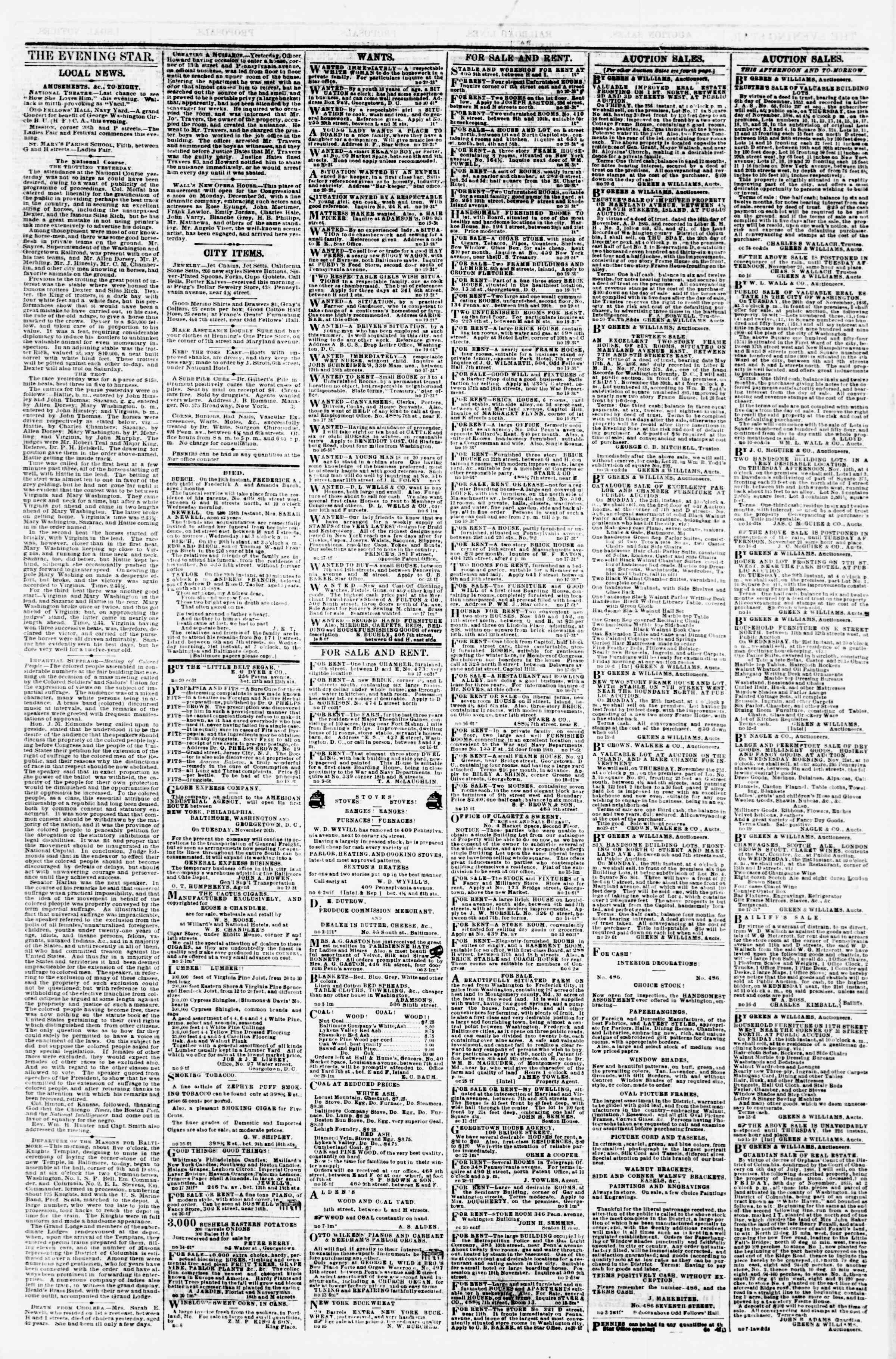 Newspaper of Evening Star dated November 20, 1866 Page 3