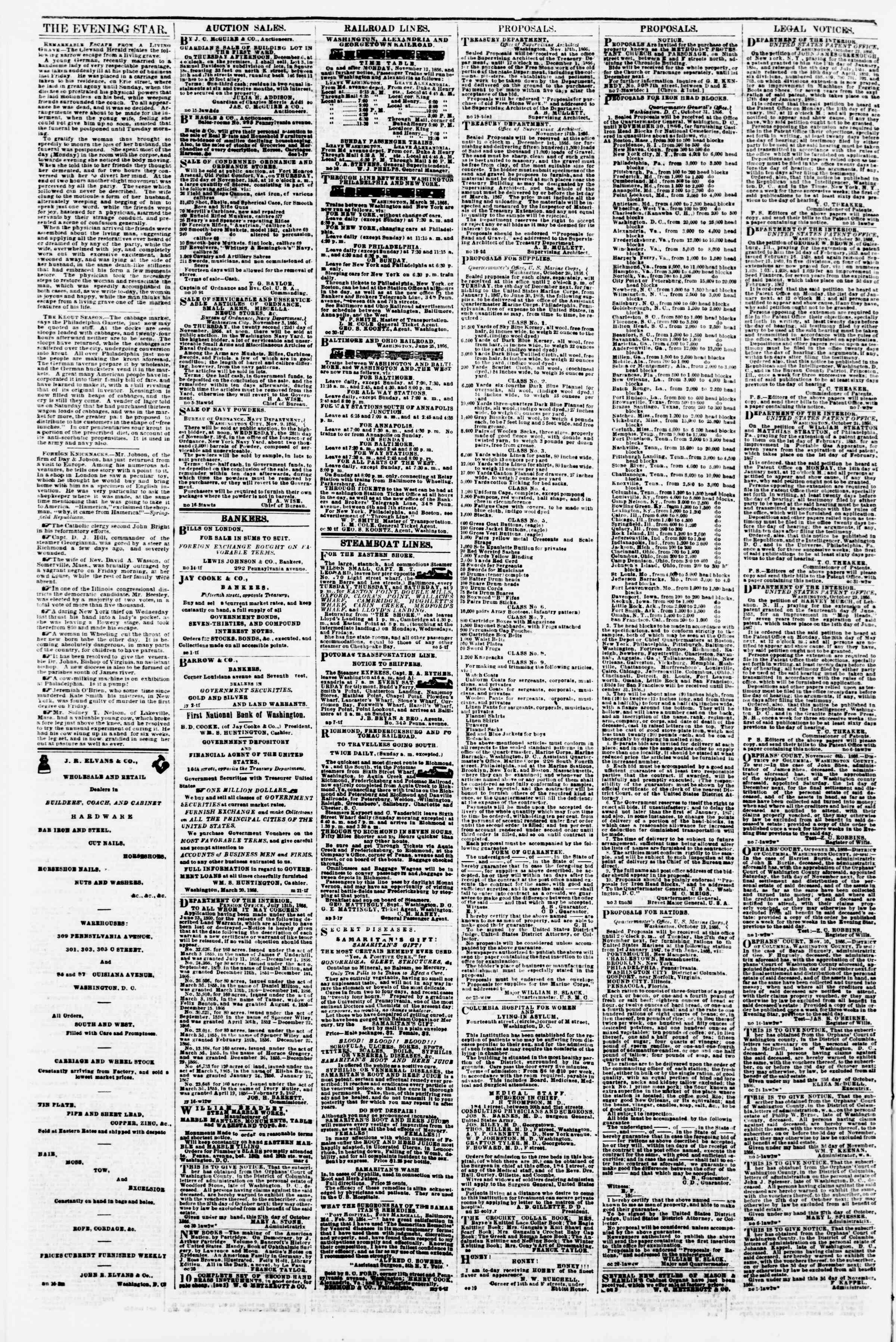 Newspaper of Evening Star dated November 20, 1866 Page 4