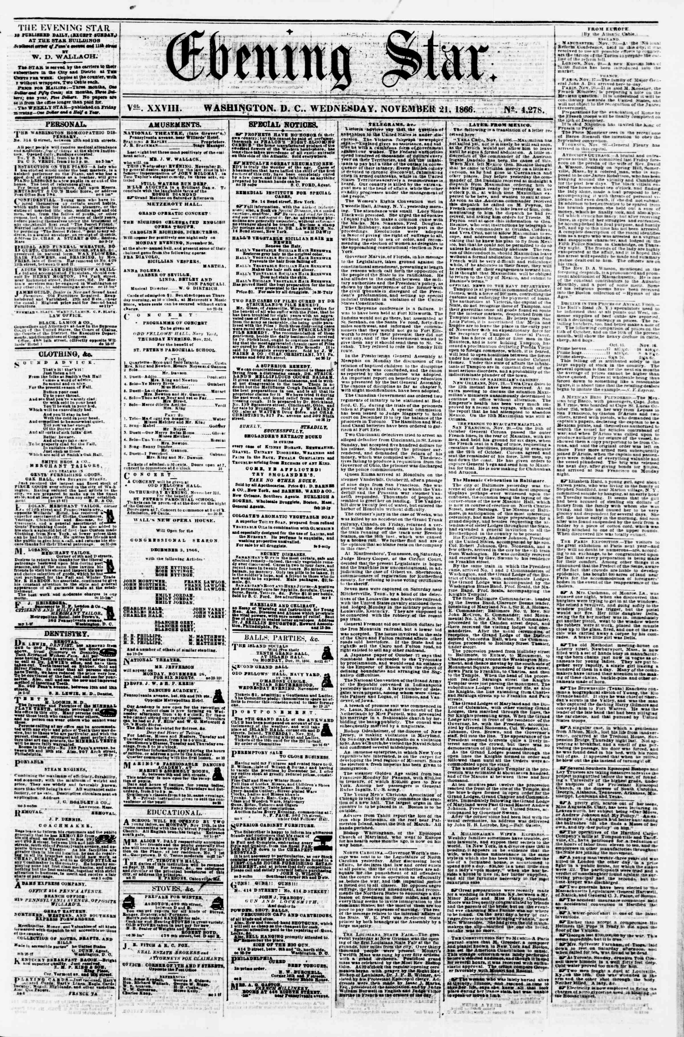 Newspaper of Evening Star dated November 21, 1866 Page 1