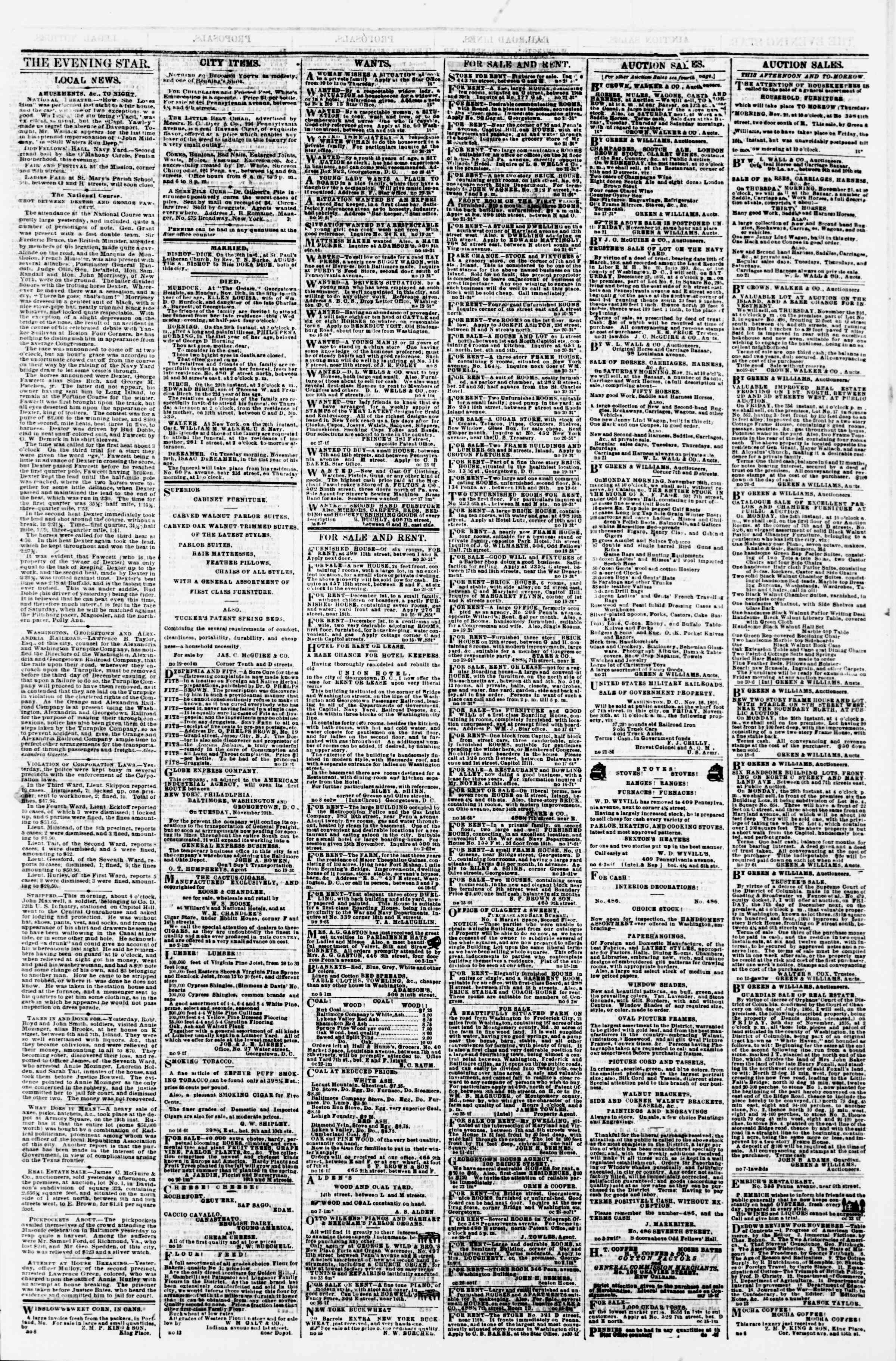 Newspaper of Evening Star dated November 21, 1866 Page 3