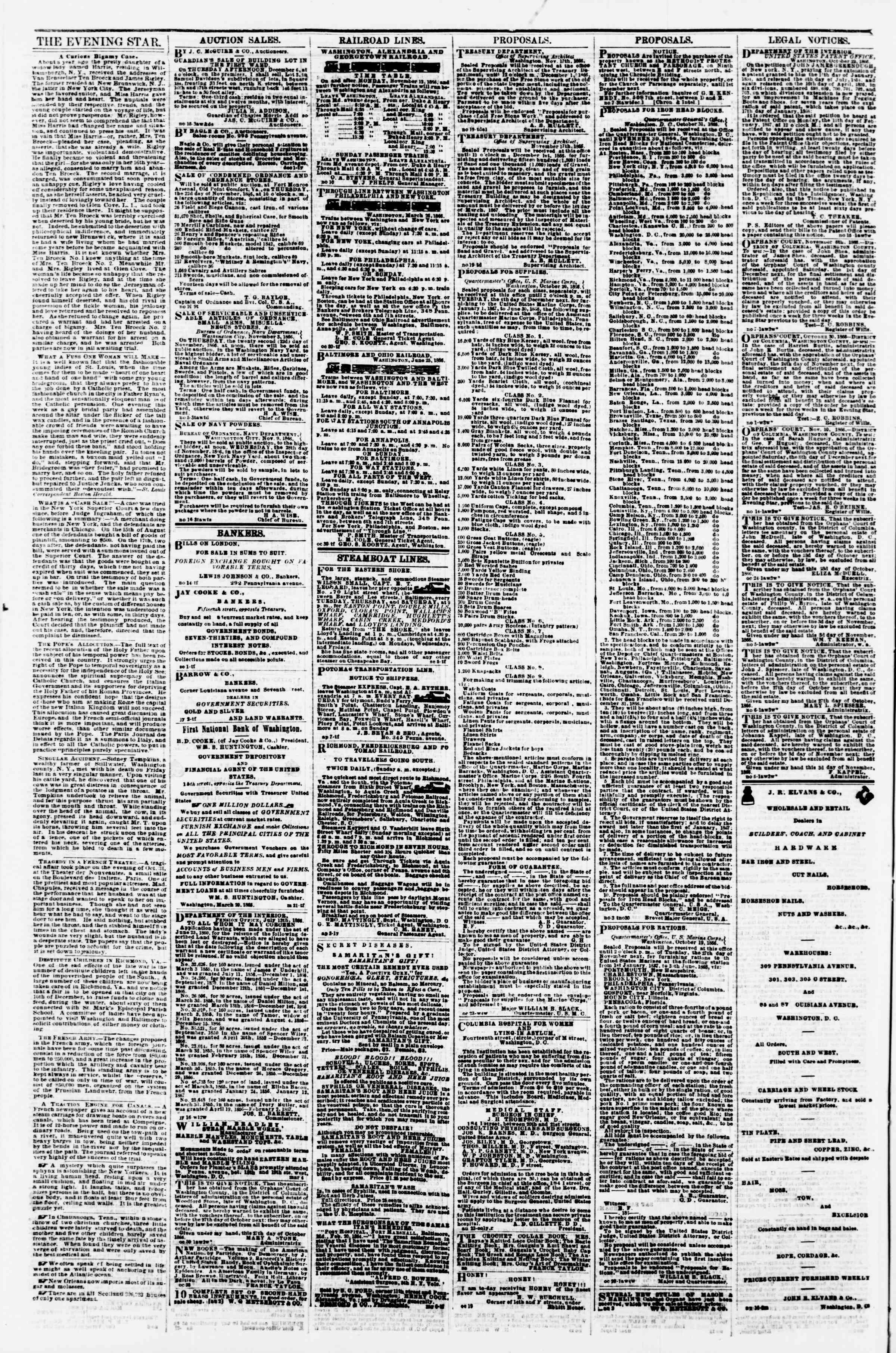 Newspaper of Evening Star dated November 21, 1866 Page 4