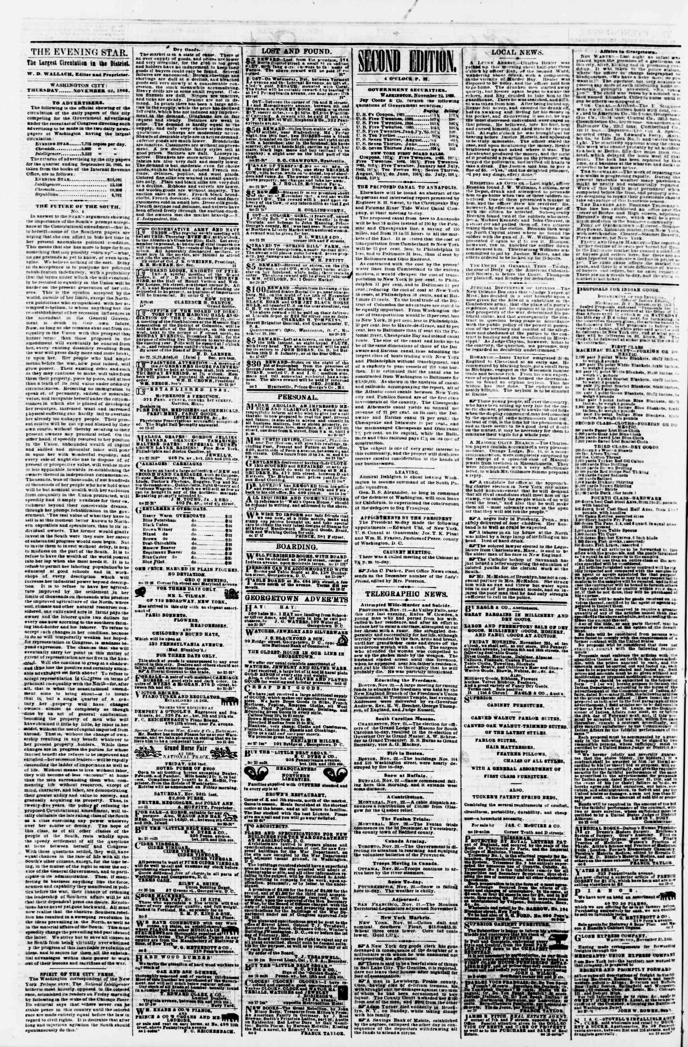 Newspaper of Evening Star dated November 22, 1866 Page 2