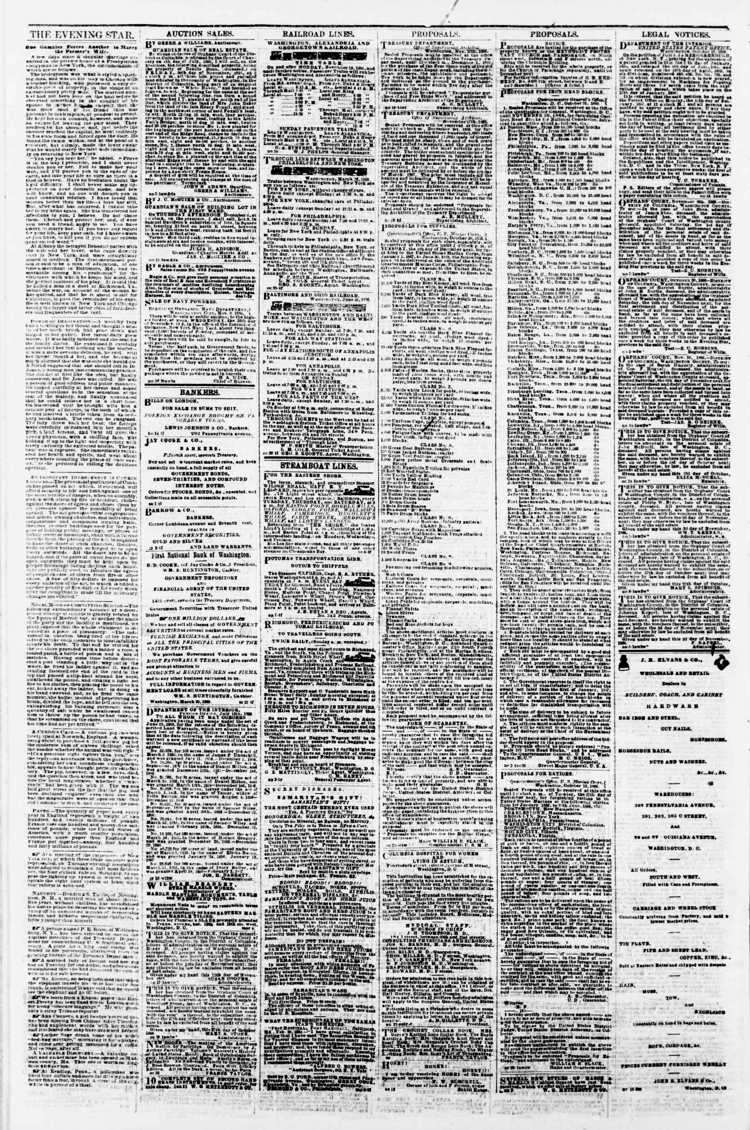 Newspaper of Evening Star dated November 22, 1866 Page 4