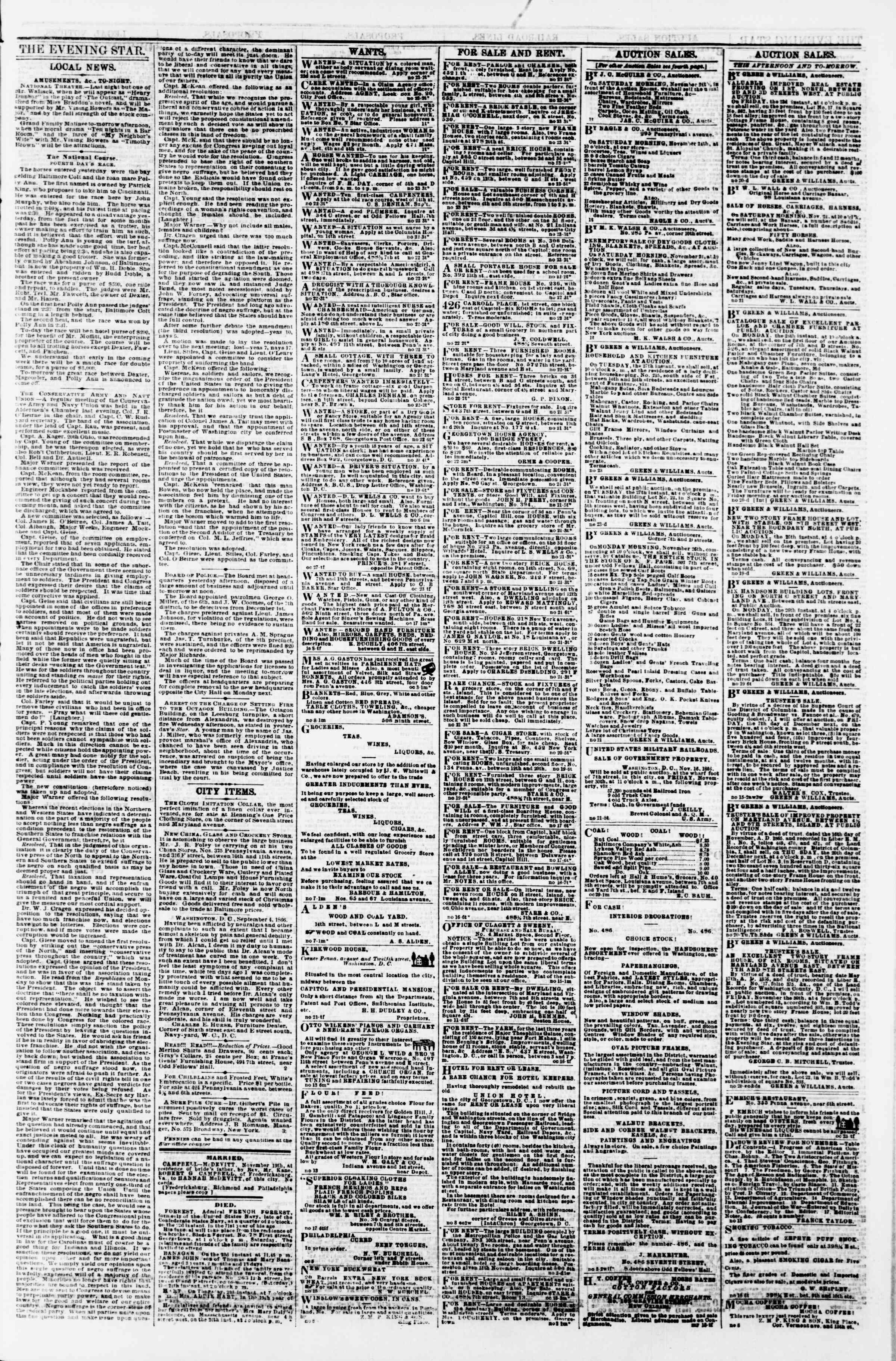 Newspaper of Evening Star dated November 23, 1866 Page 3