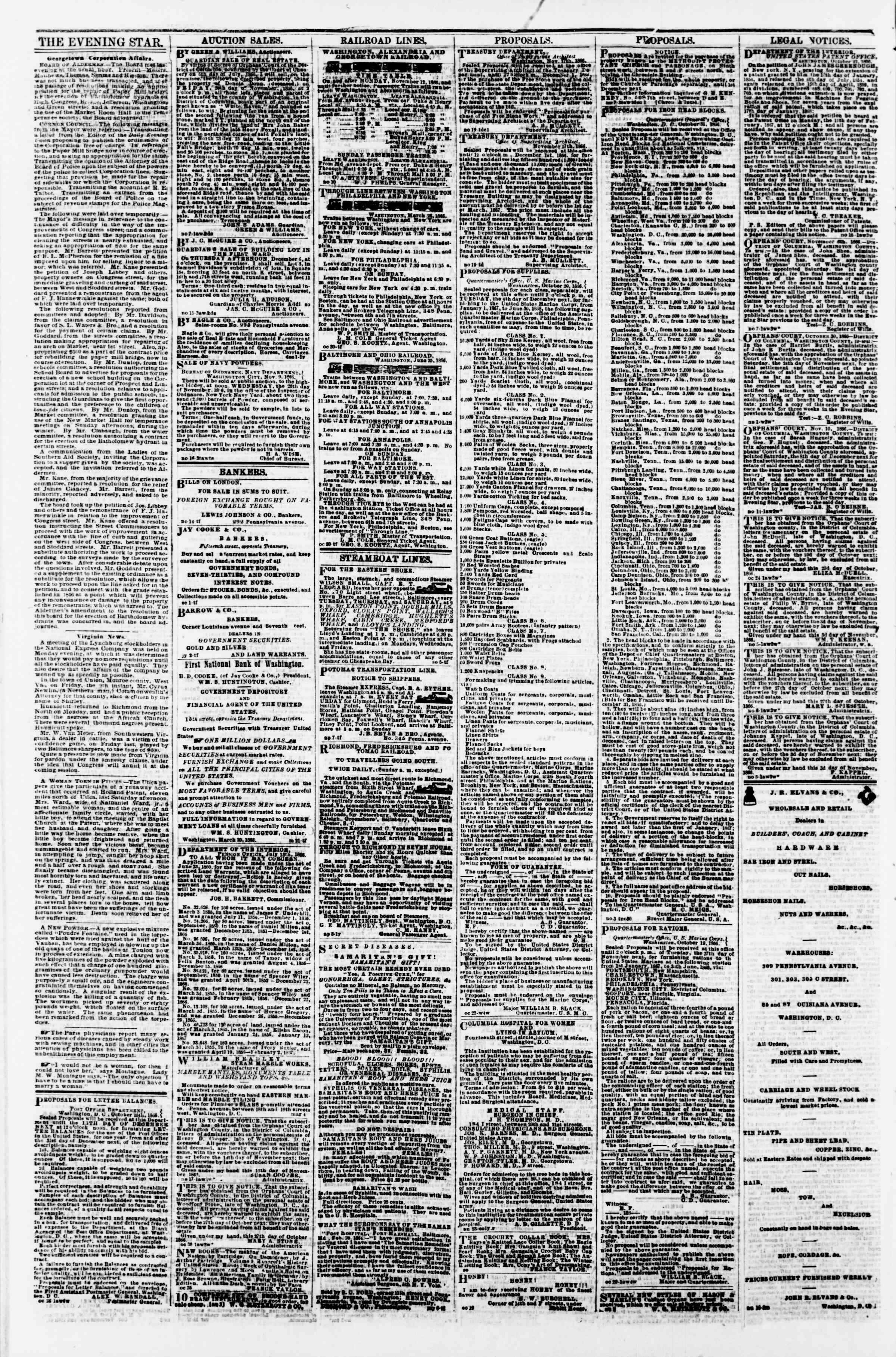 Newspaper of Evening Star dated November 23, 1866 Page 4