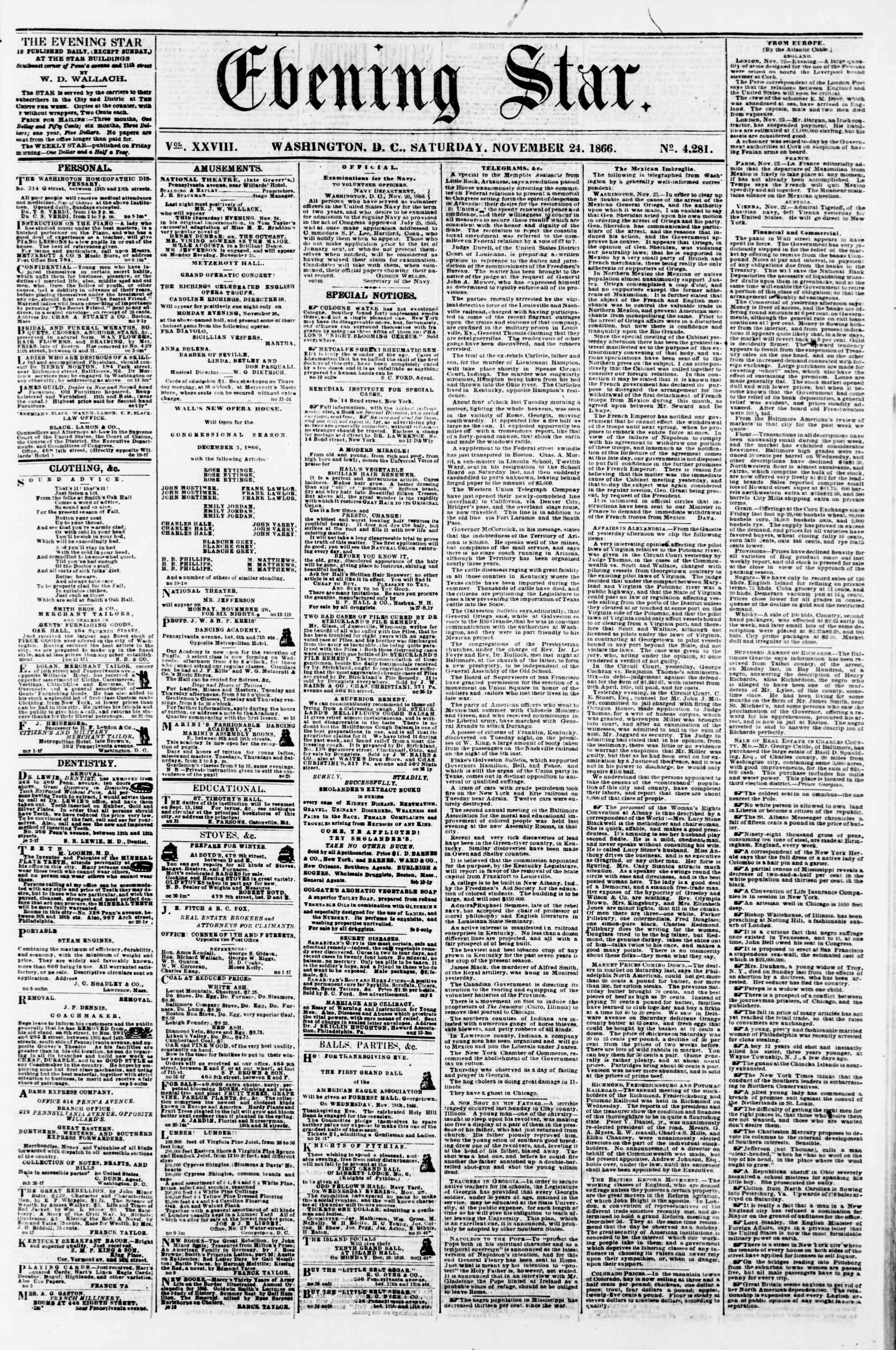 Newspaper of Evening Star dated November 24, 1866 Page 1