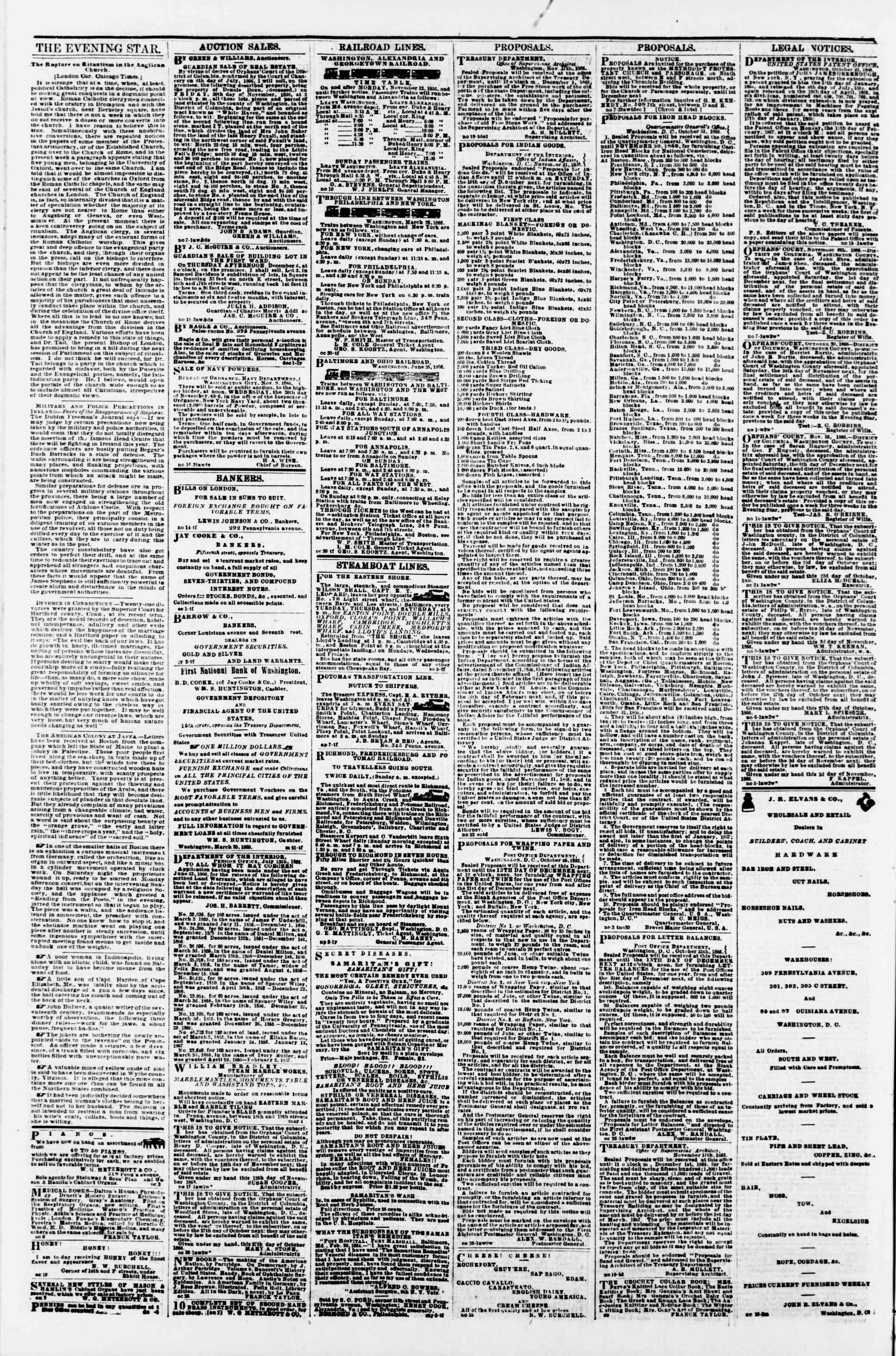 Newspaper of Evening Star dated 24 Kasım 1866 Page 4