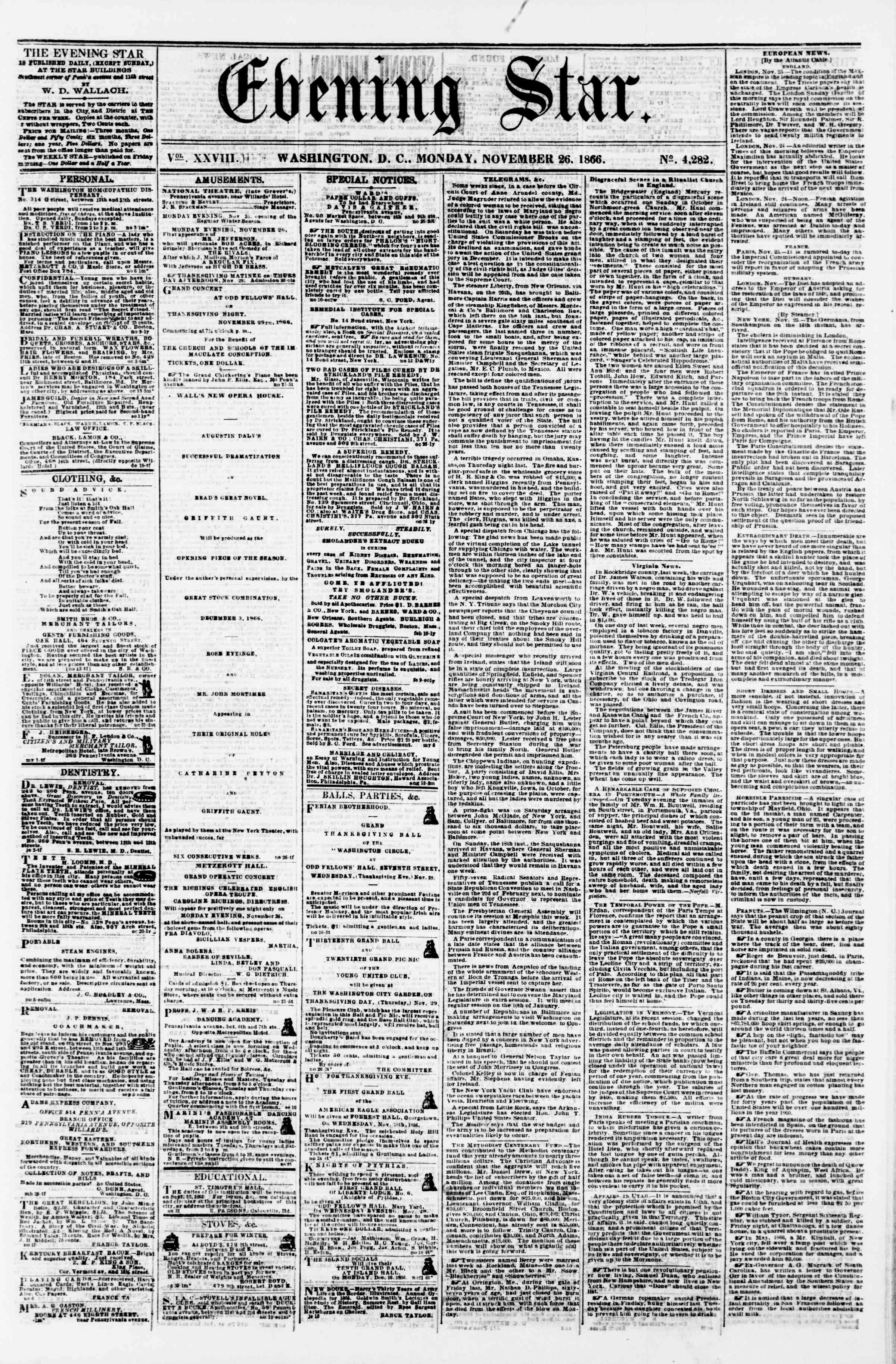 Newspaper of Evening Star dated November 26, 1866 Page 1