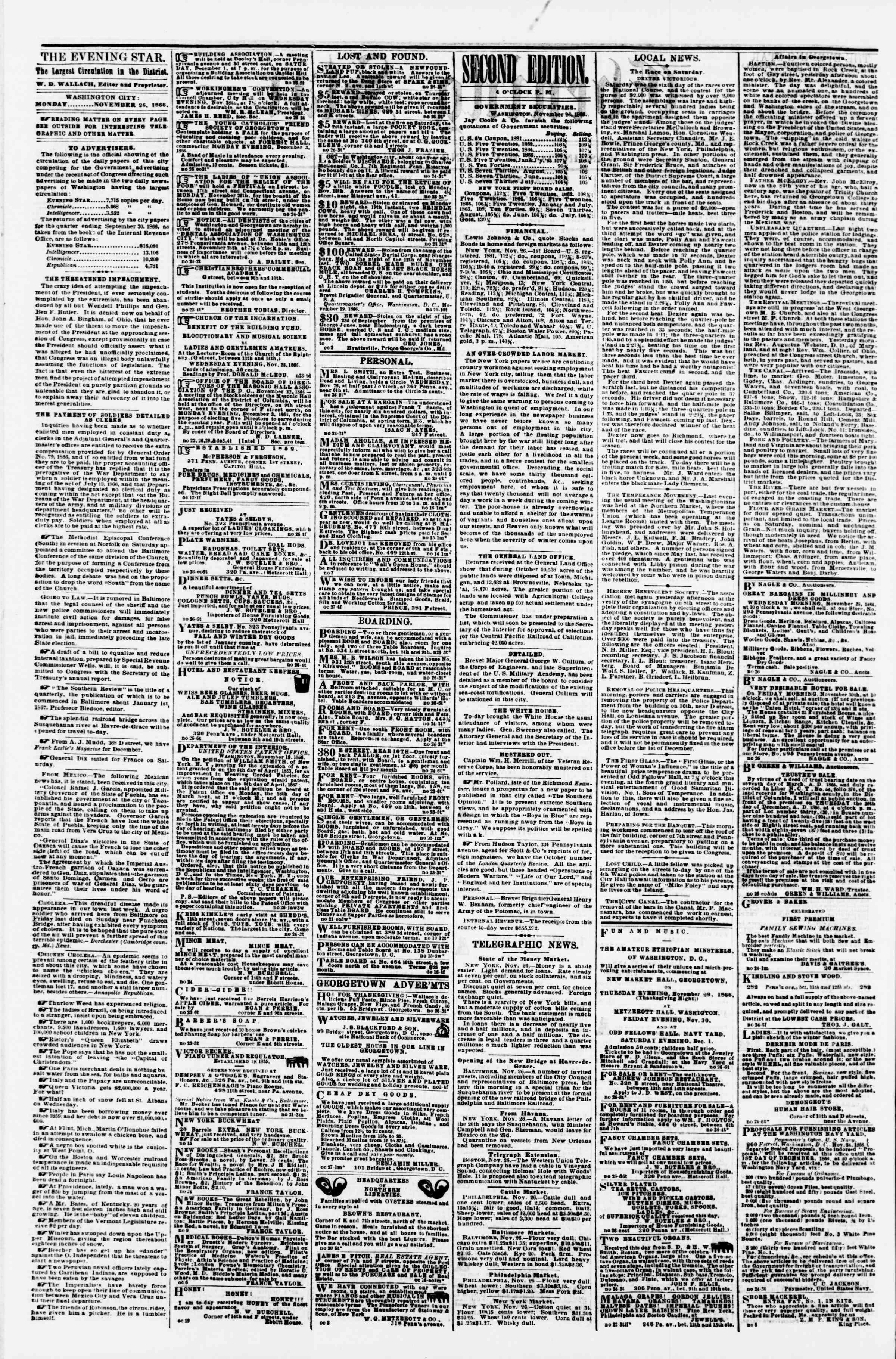 Newspaper of Evening Star dated November 26, 1866 Page 2