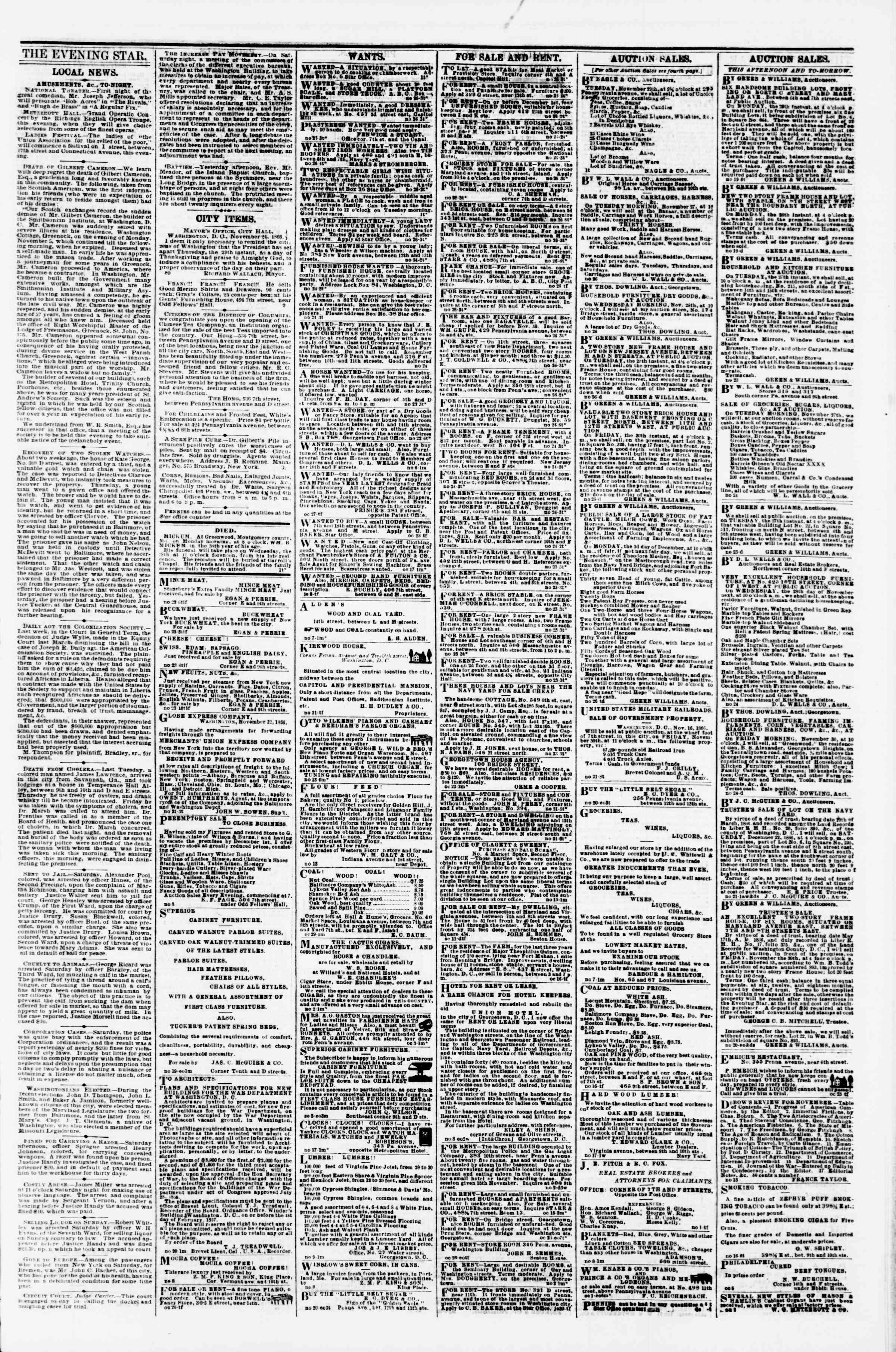 Newspaper of Evening Star dated November 26, 1866 Page 3