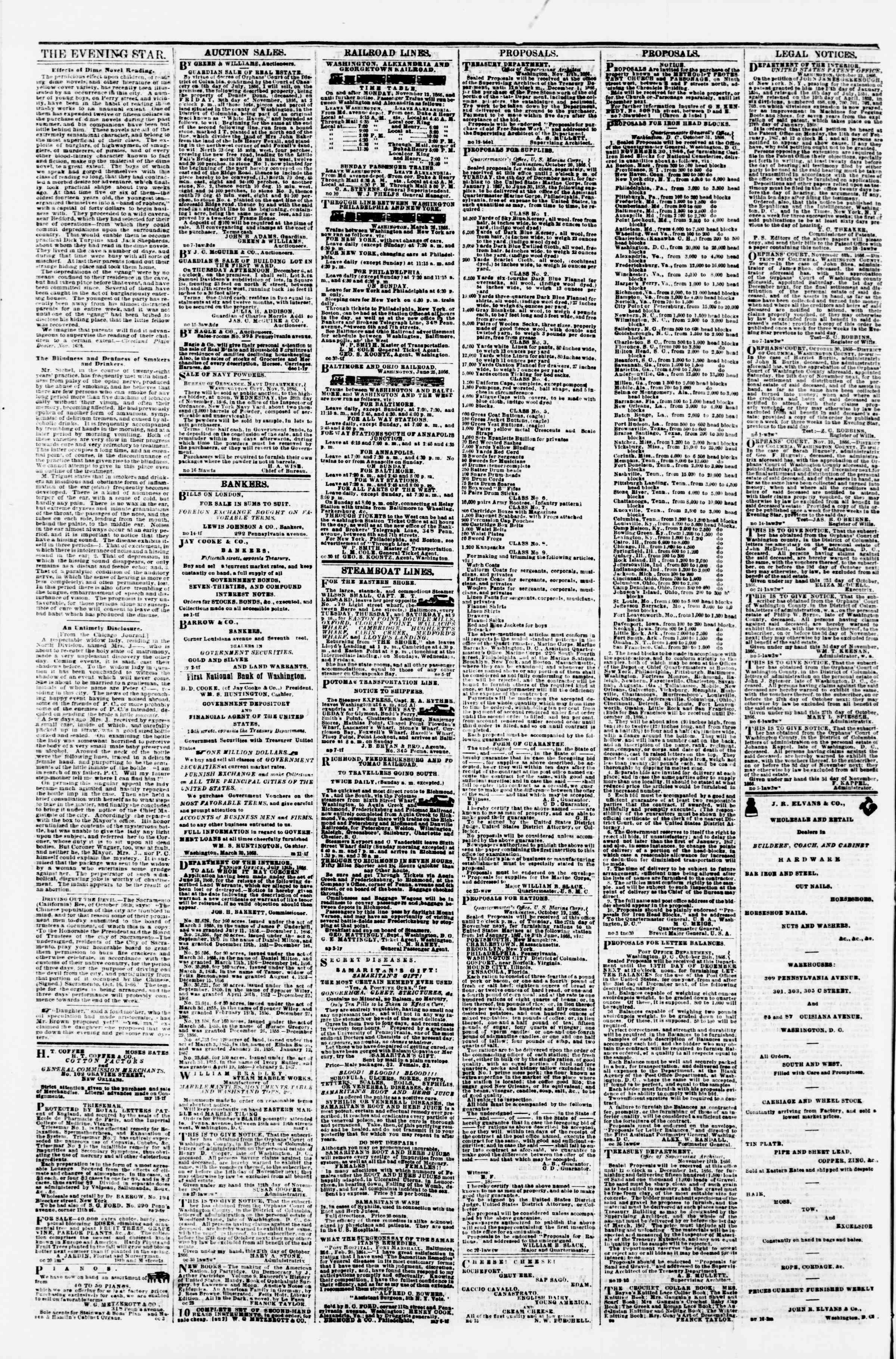 Newspaper of Evening Star dated November 26, 1866 Page 4