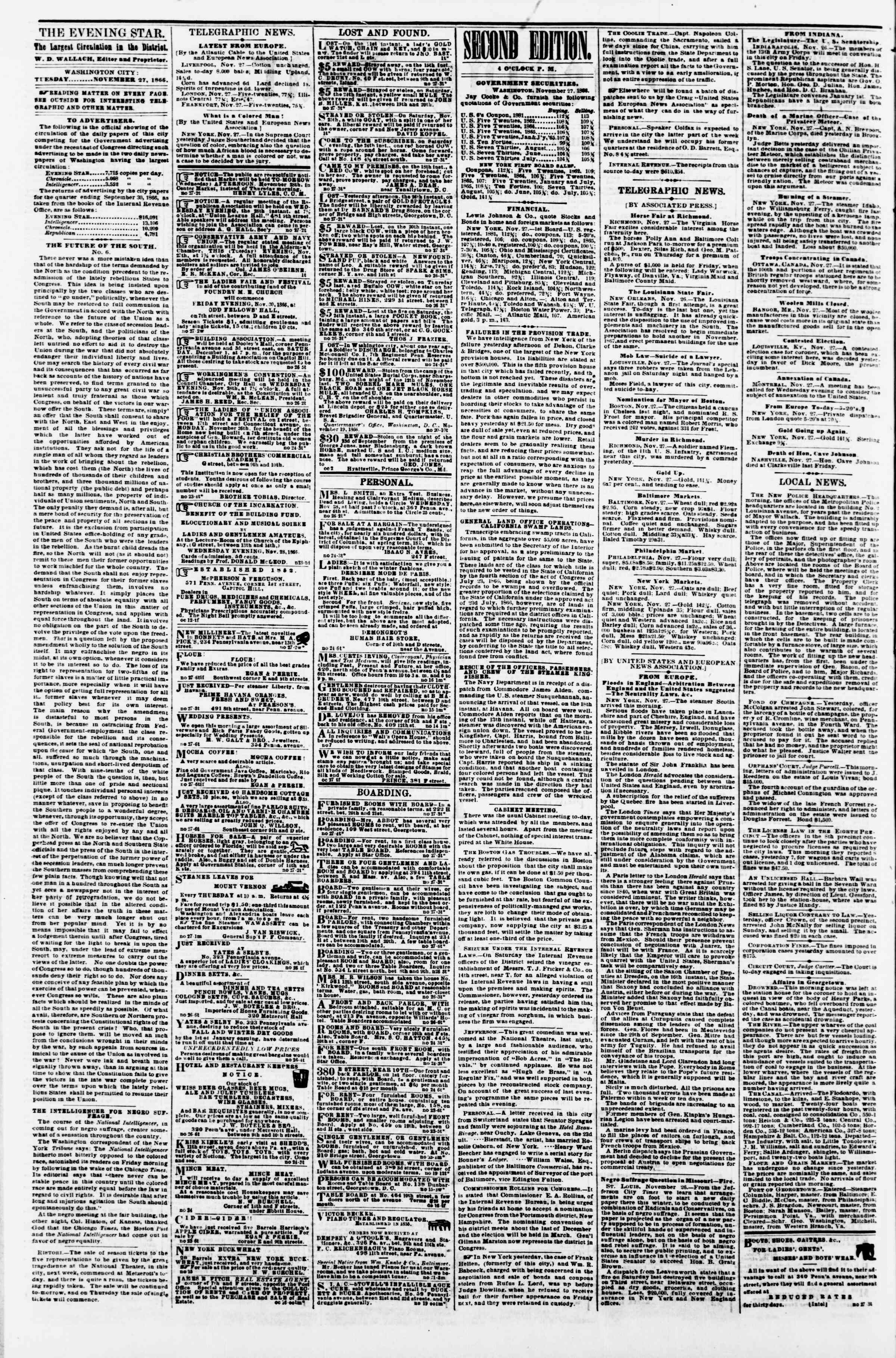 Newspaper of Evening Star dated November 27, 1866 Page 2