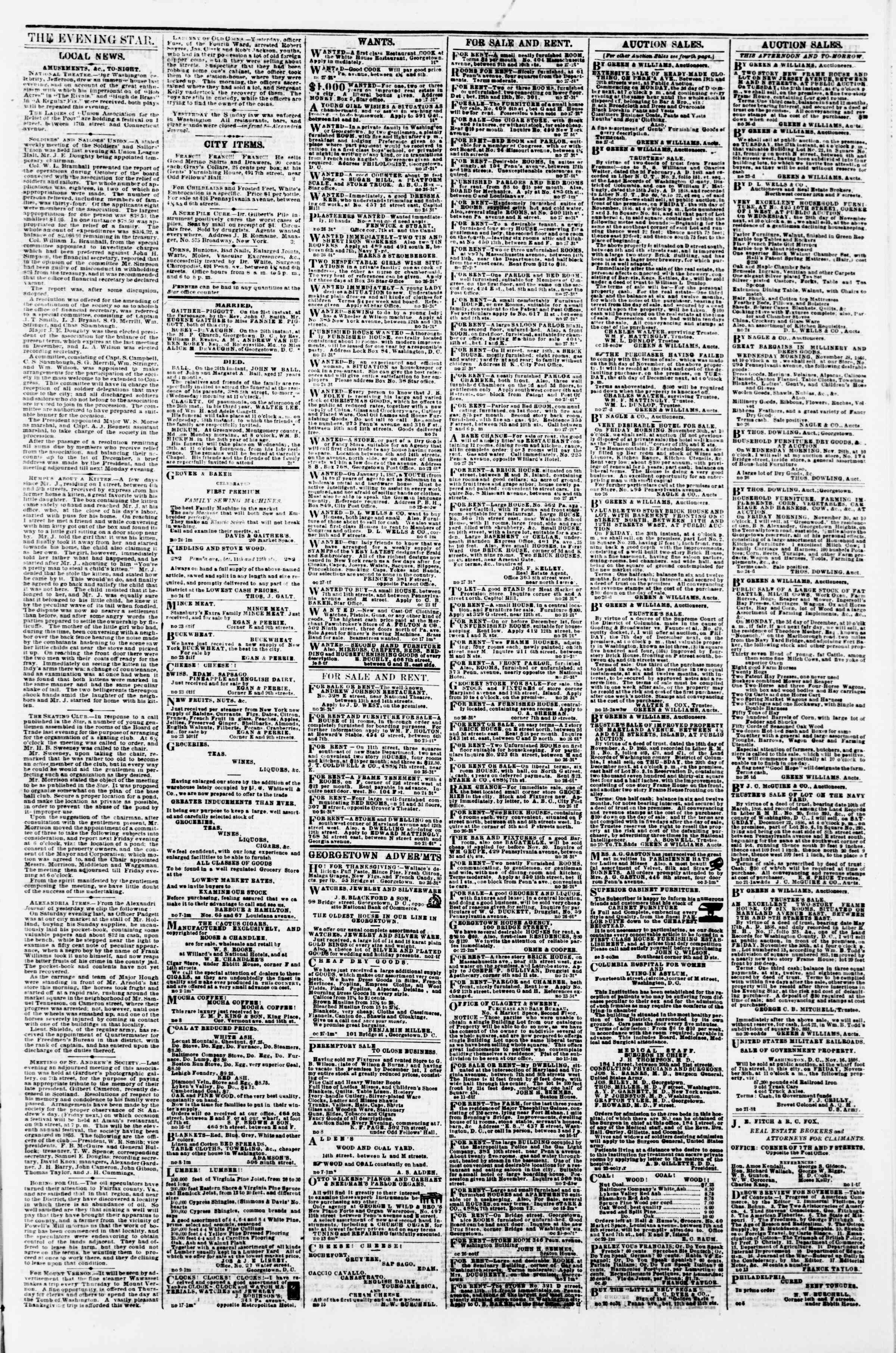 Newspaper of Evening Star dated November 27, 1866 Page 3