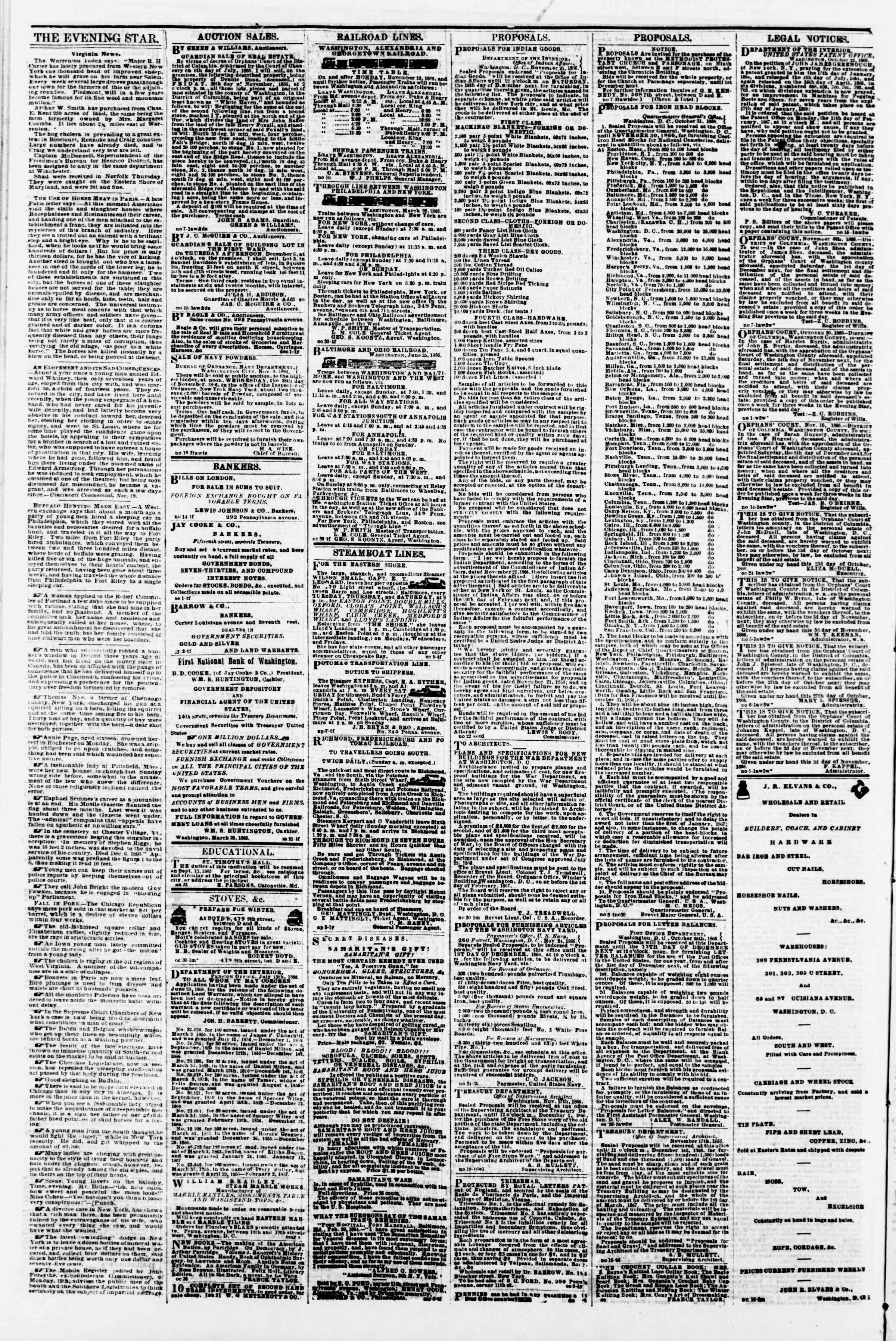 Newspaper of Evening Star dated November 27, 1866 Page 4