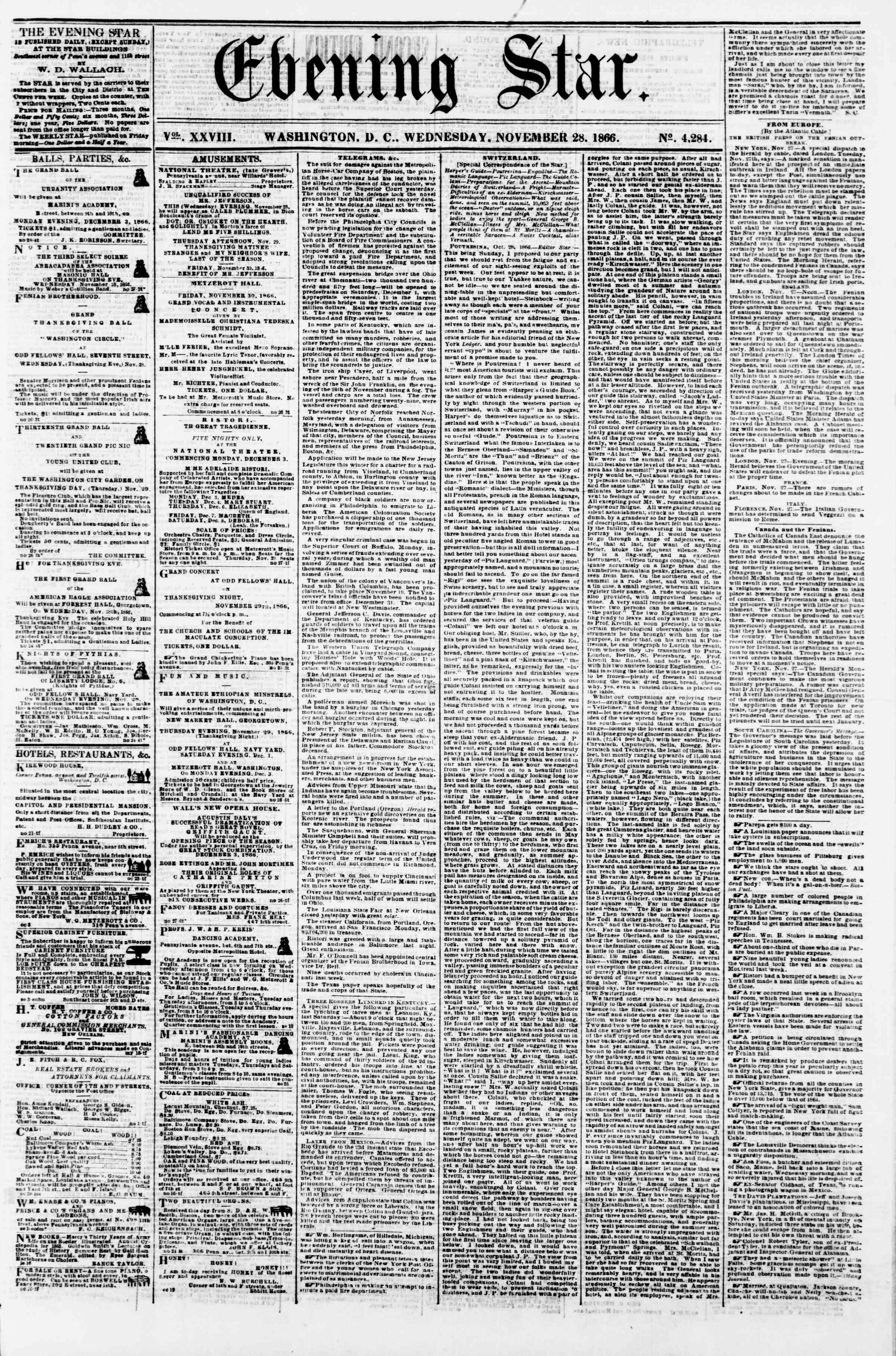 Newspaper of Evening Star dated November 28, 1866 Page 1