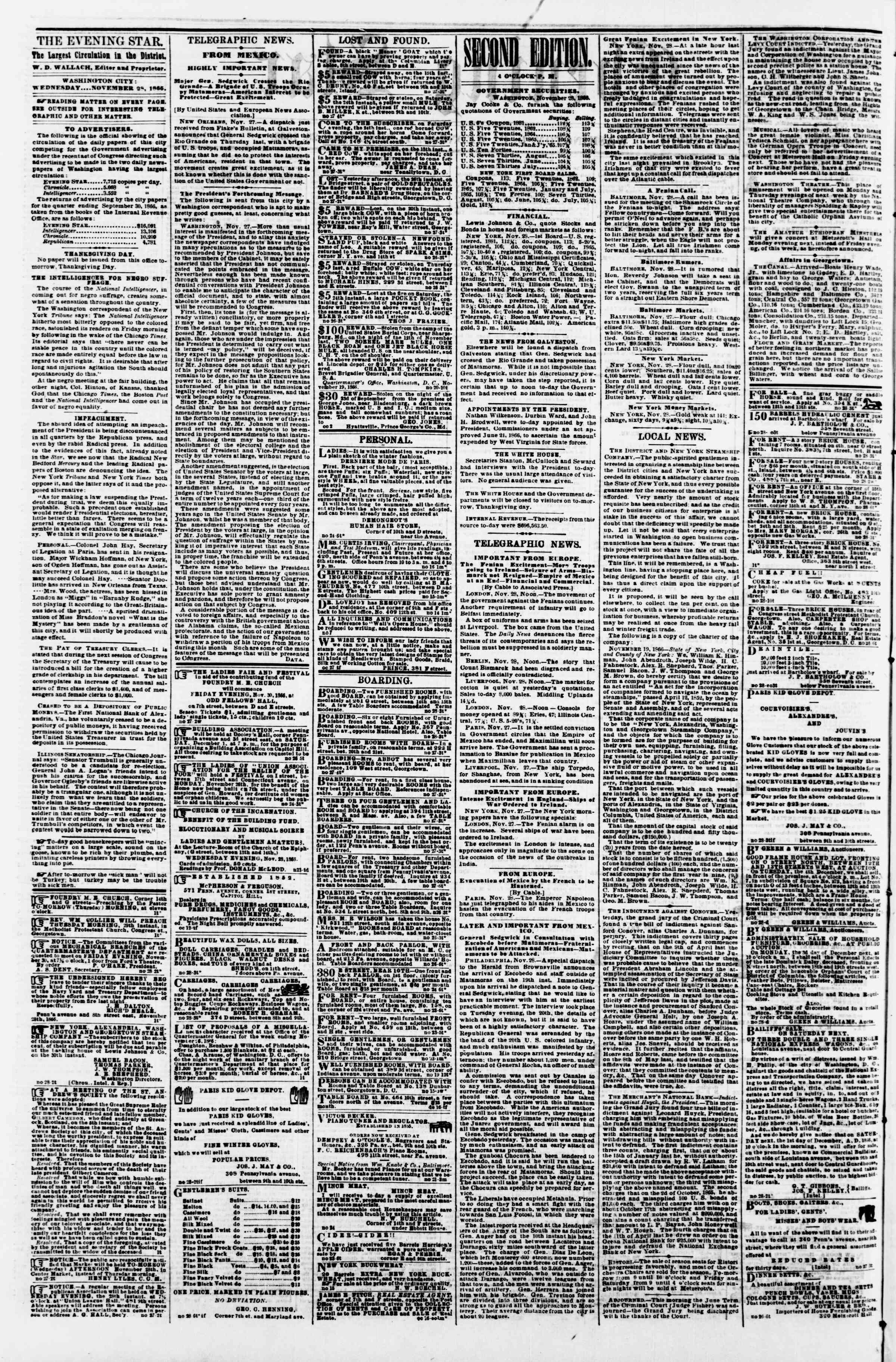 Newspaper of Evening Star dated November 28, 1866 Page 2