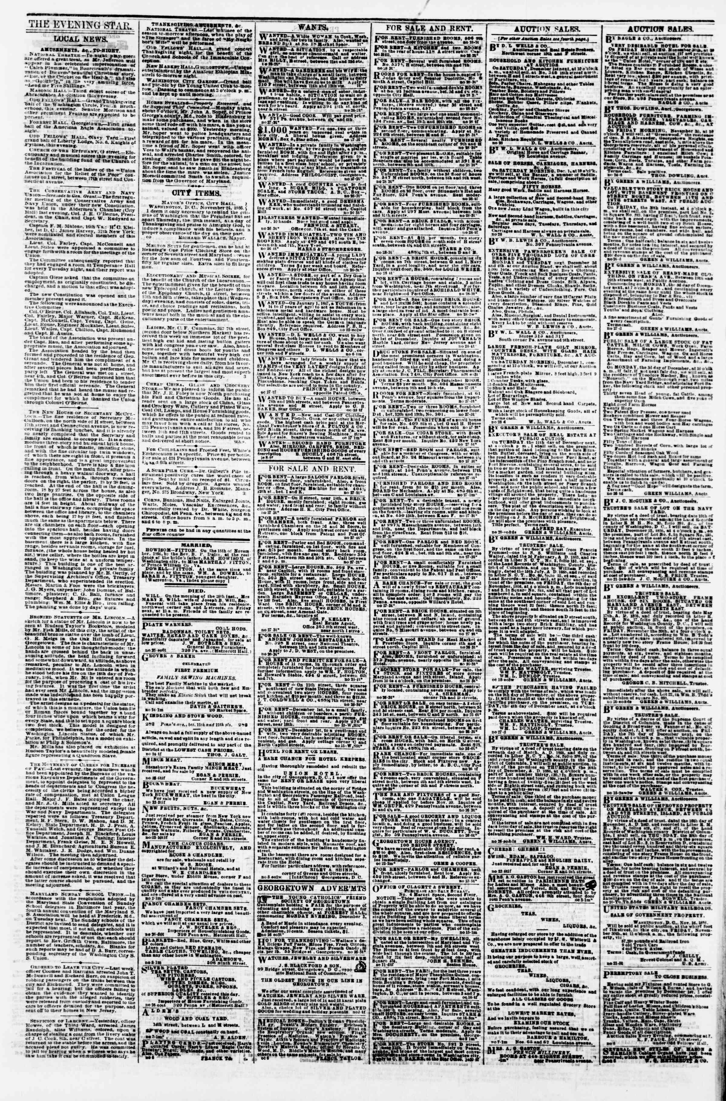 Newspaper of Evening Star dated November 28, 1866 Page 3