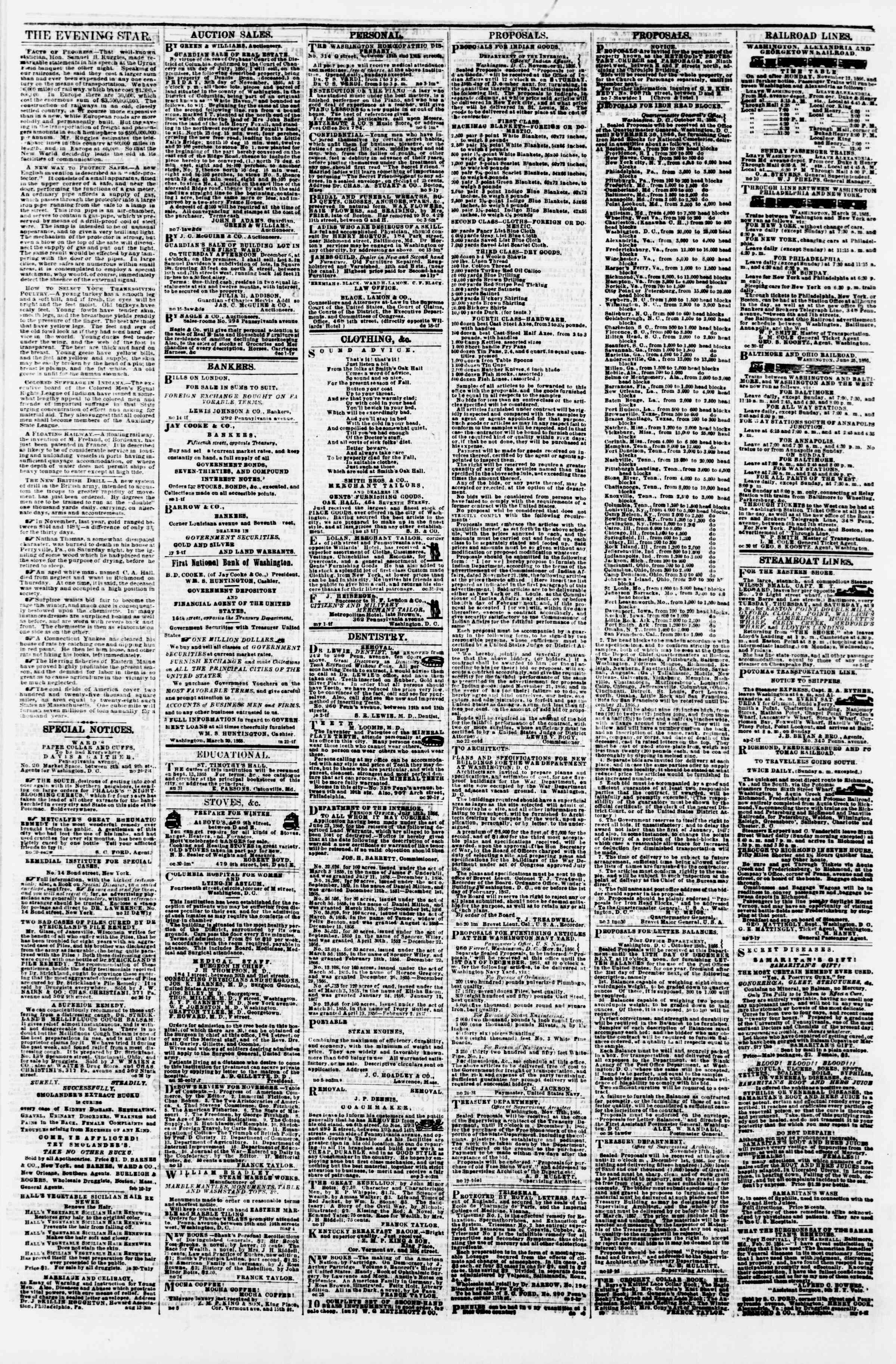 Newspaper of Evening Star dated November 28, 1866 Page 4