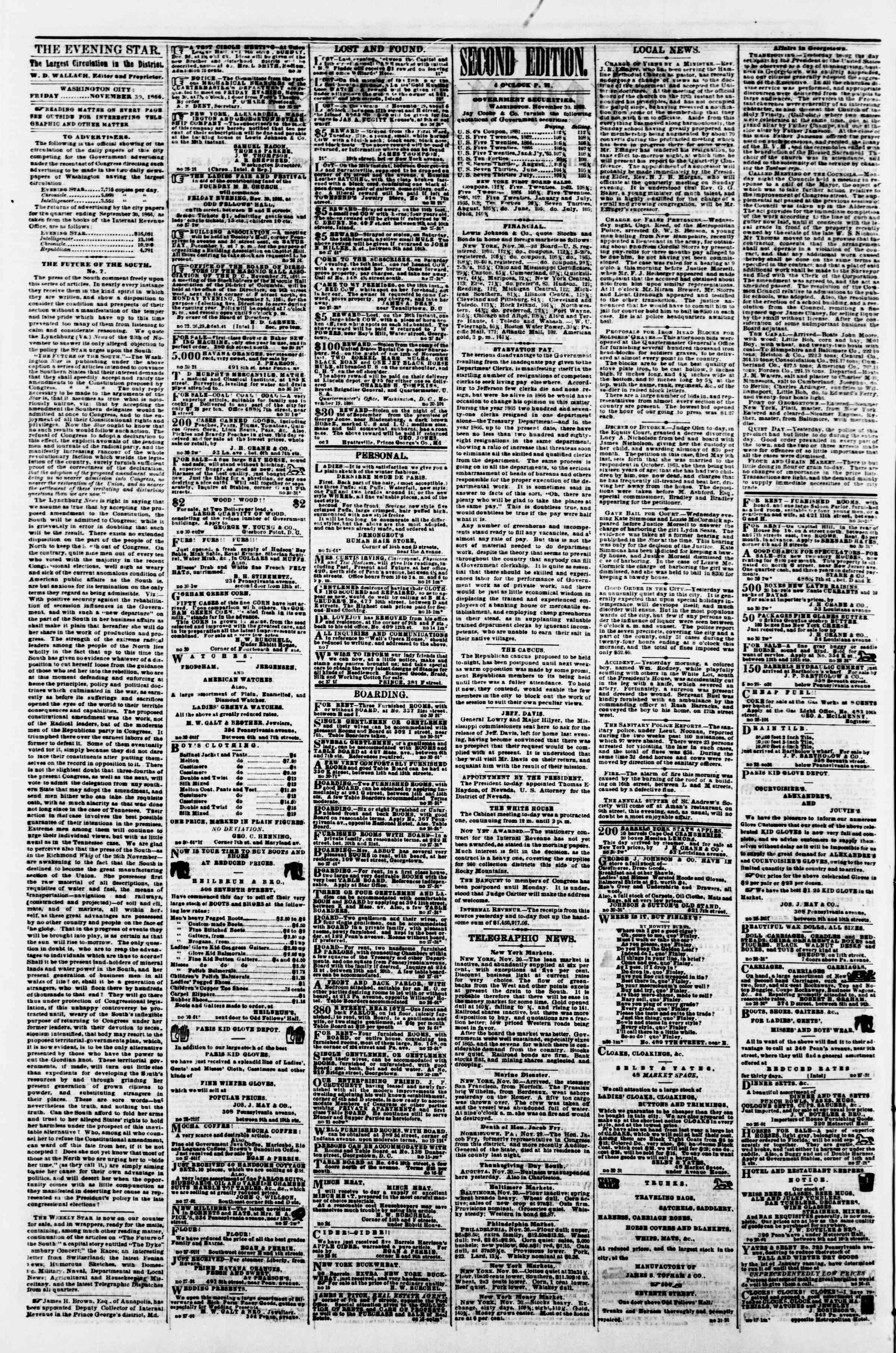 Newspaper of Evening Star dated November 30, 1866 Page 2