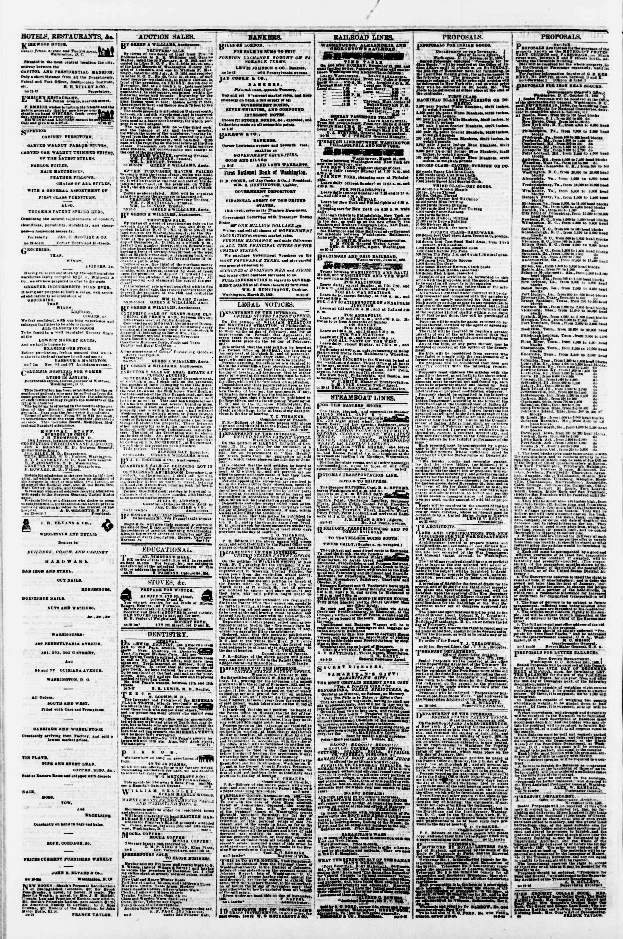 Newspaper of Evening Star dated November 30, 1866 Page 4