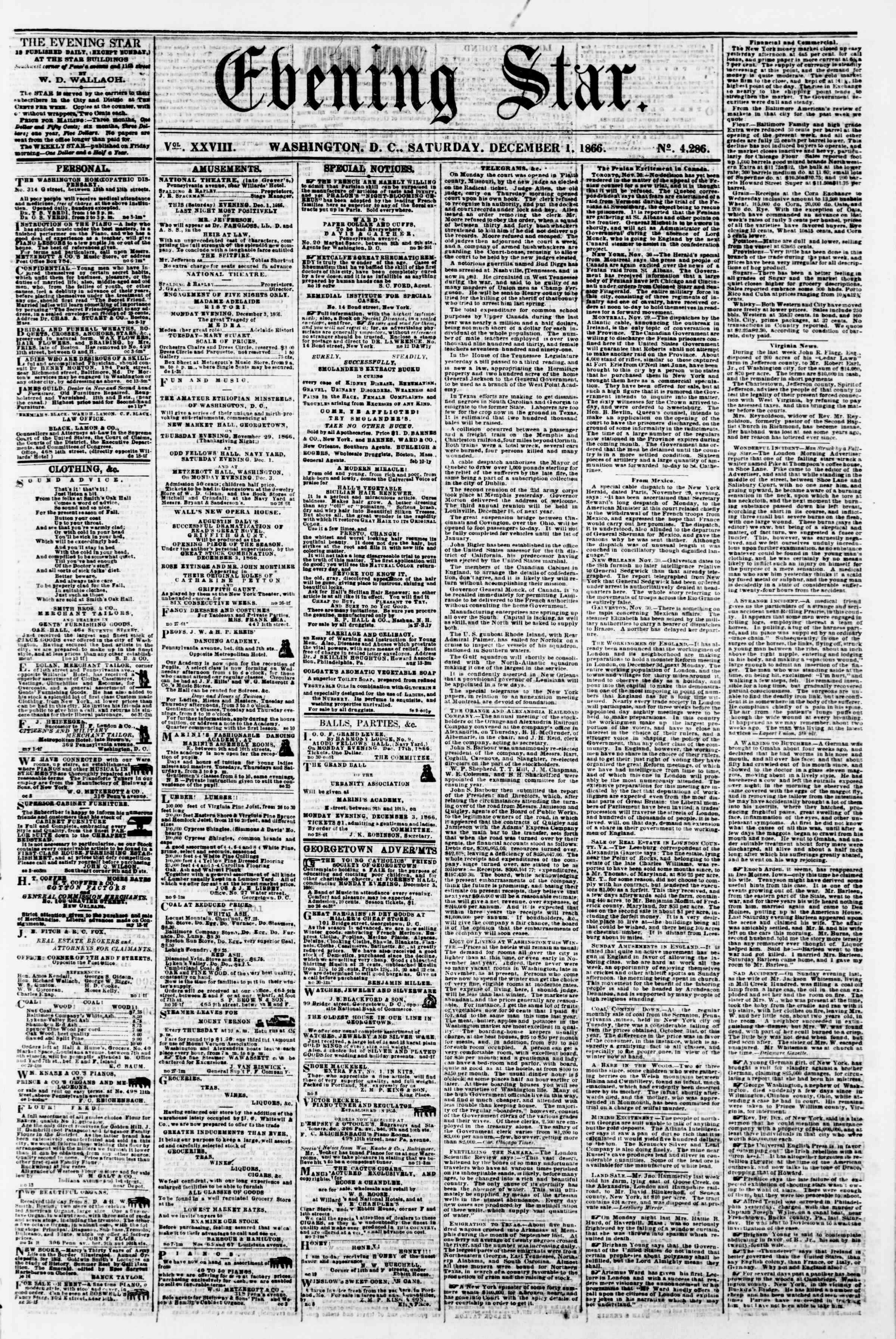 Newspaper of Evening Star dated December 1, 1866 Page 1