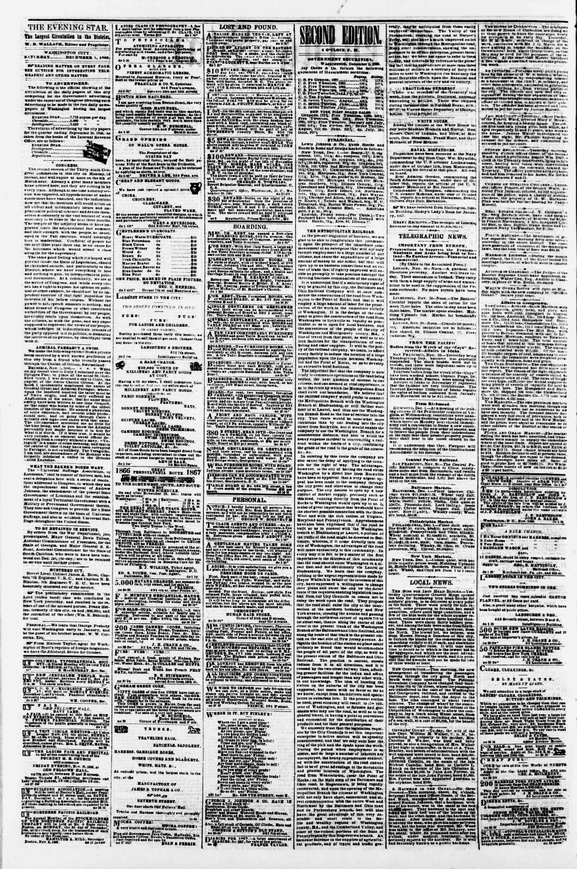 Newspaper of Evening Star dated December 1, 1866 Page 2