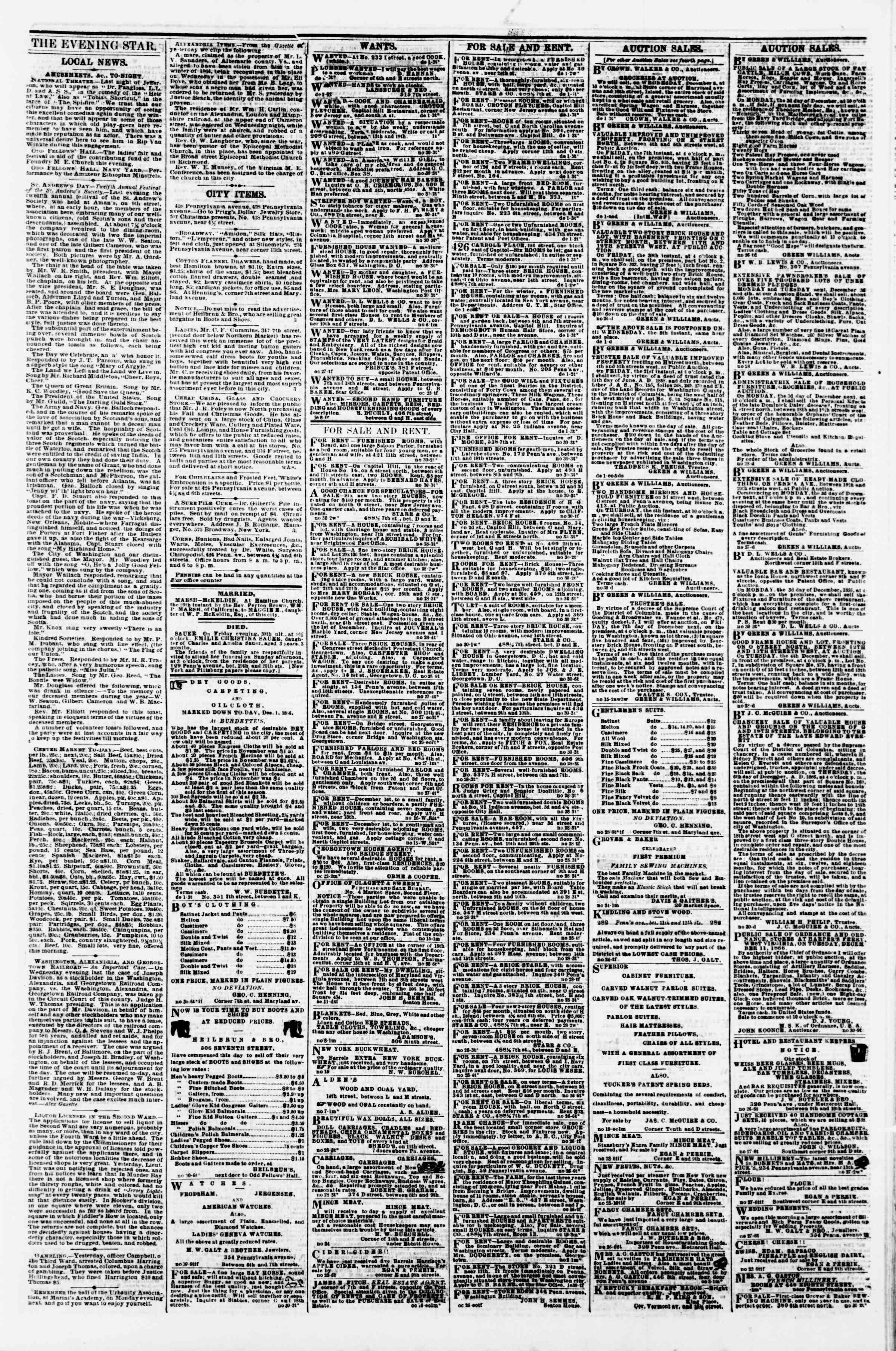 Newspaper of Evening Star dated December 1, 1866 Page 3