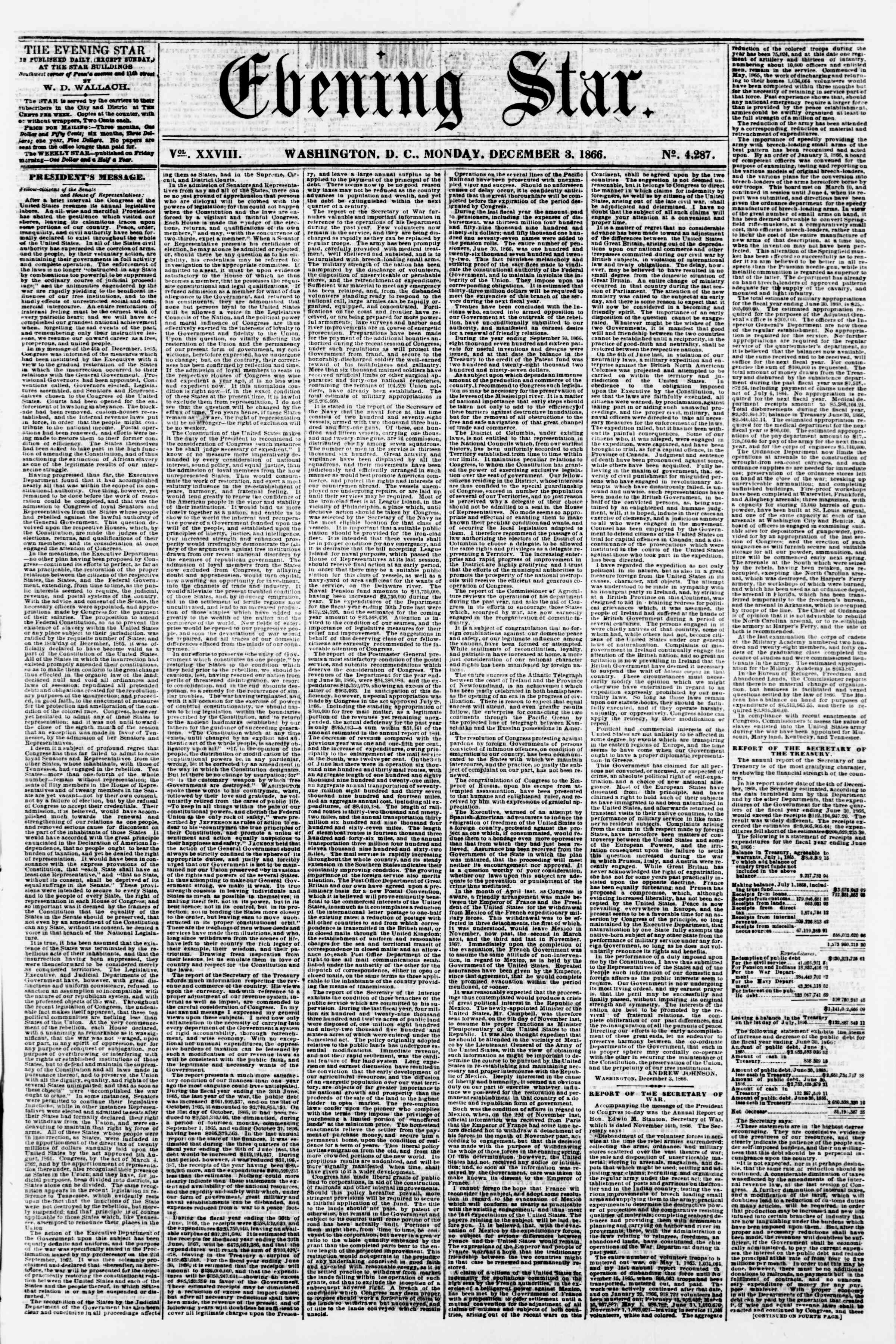 Newspaper of Evening Star dated December 3, 1866 Page 1