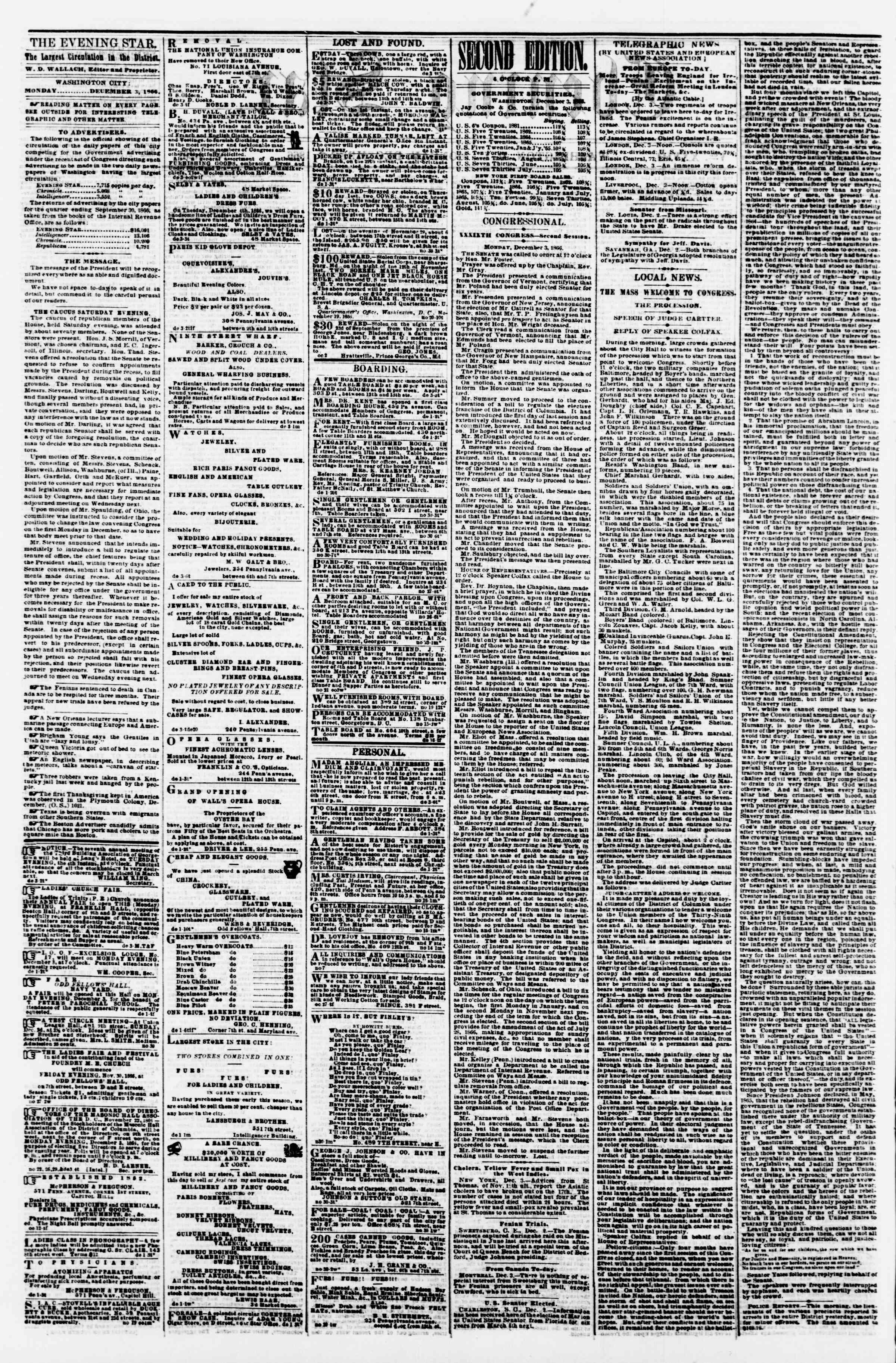Newspaper of Evening Star dated December 3, 1866 Page 2