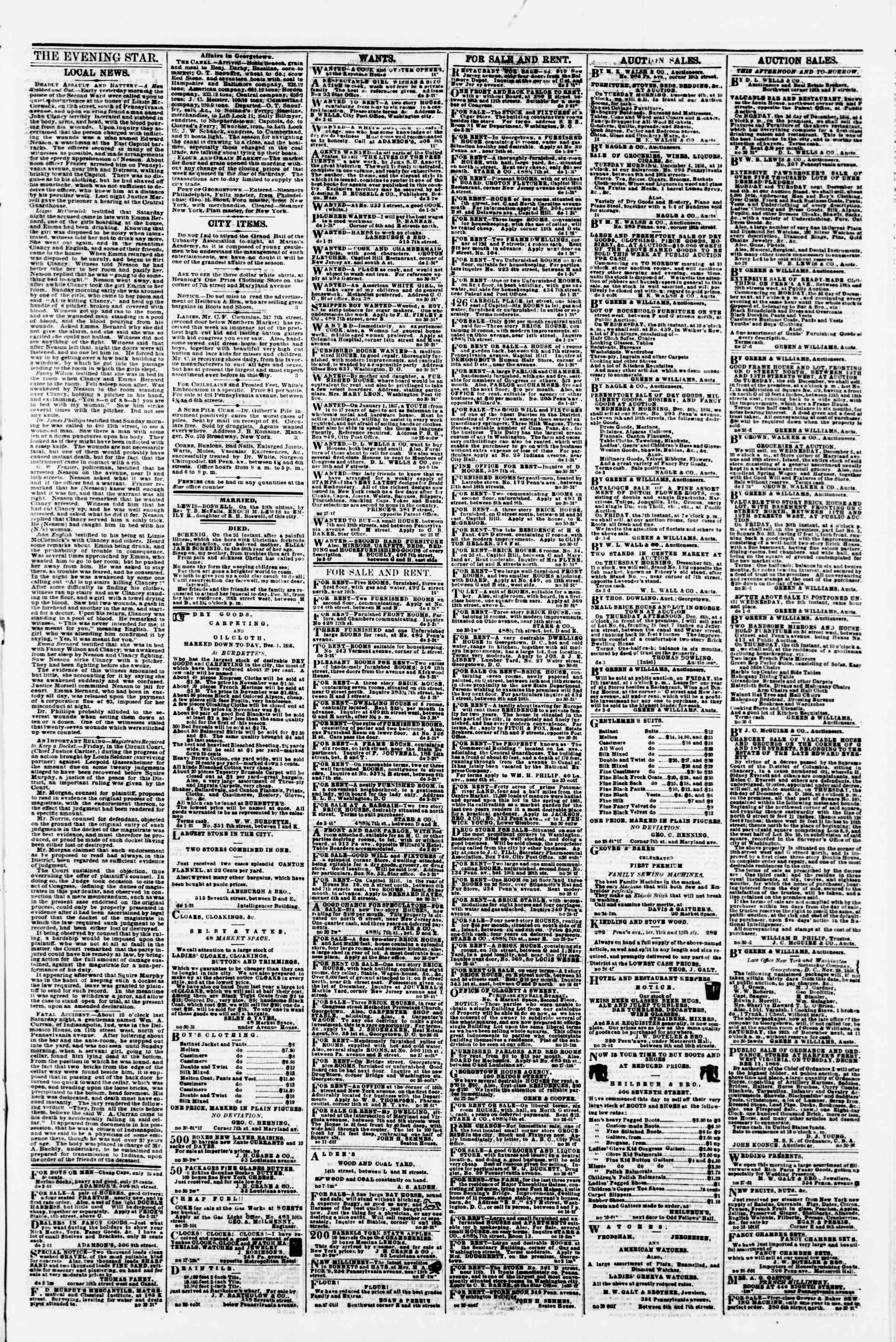 Newspaper of Evening Star dated December 3, 1866 Page 3