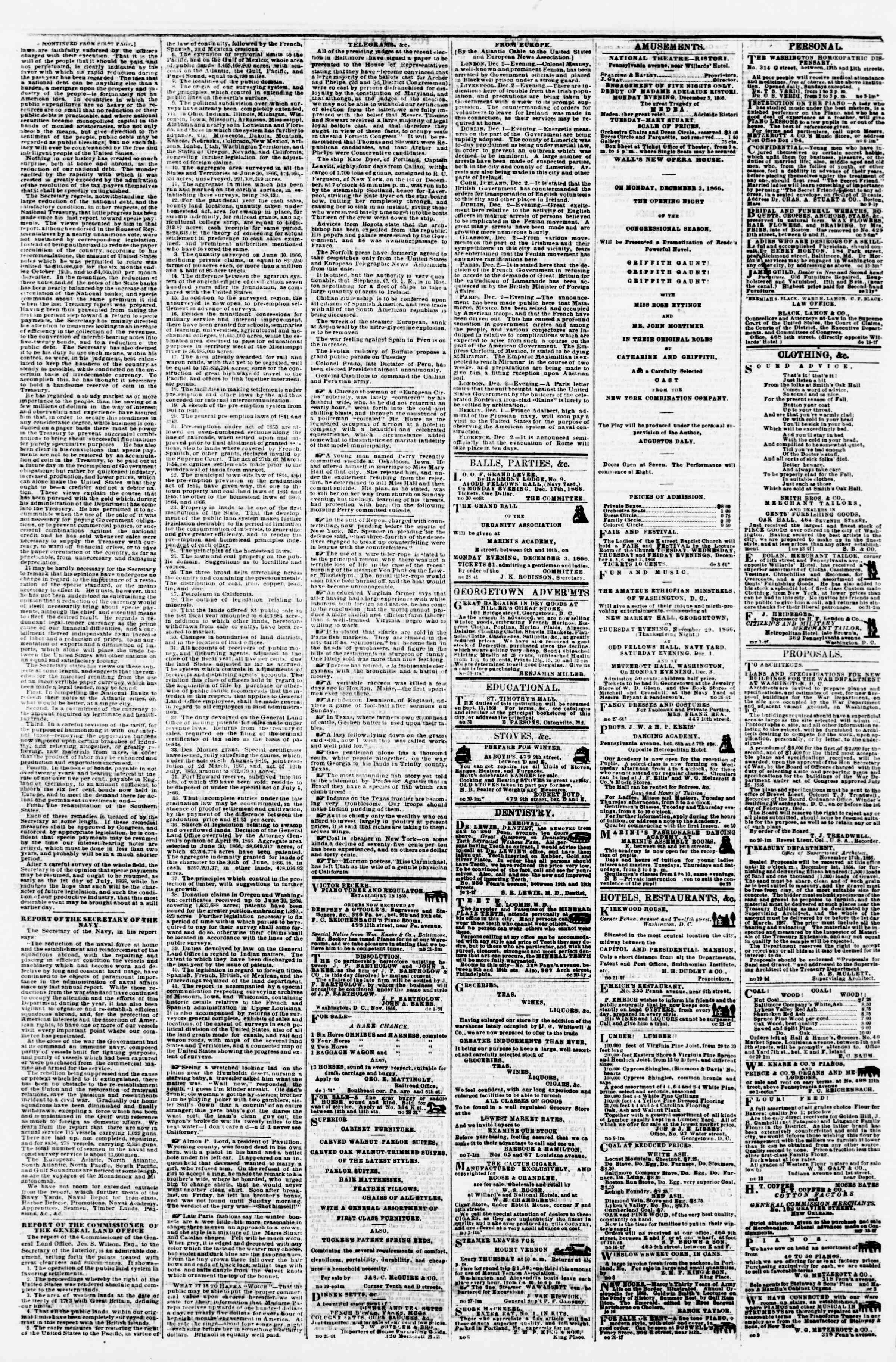 Newspaper of Evening Star dated December 3, 1866 Page 4