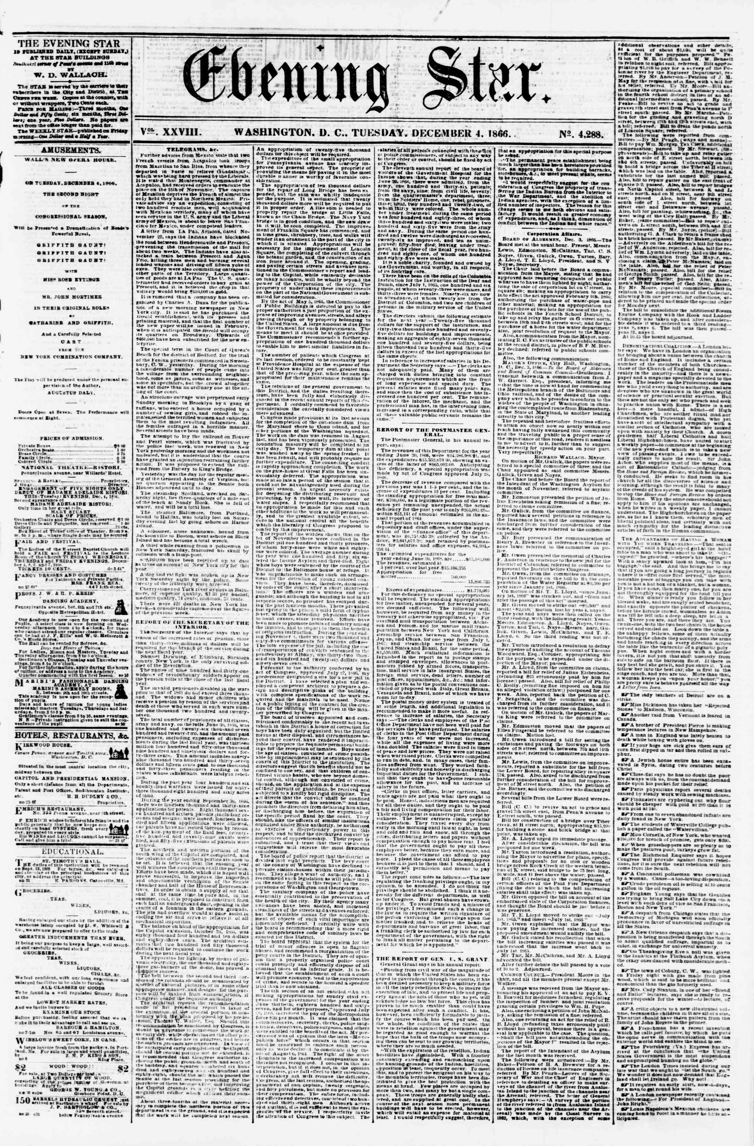Newspaper of Evening Star dated December 4, 1866 Page 1