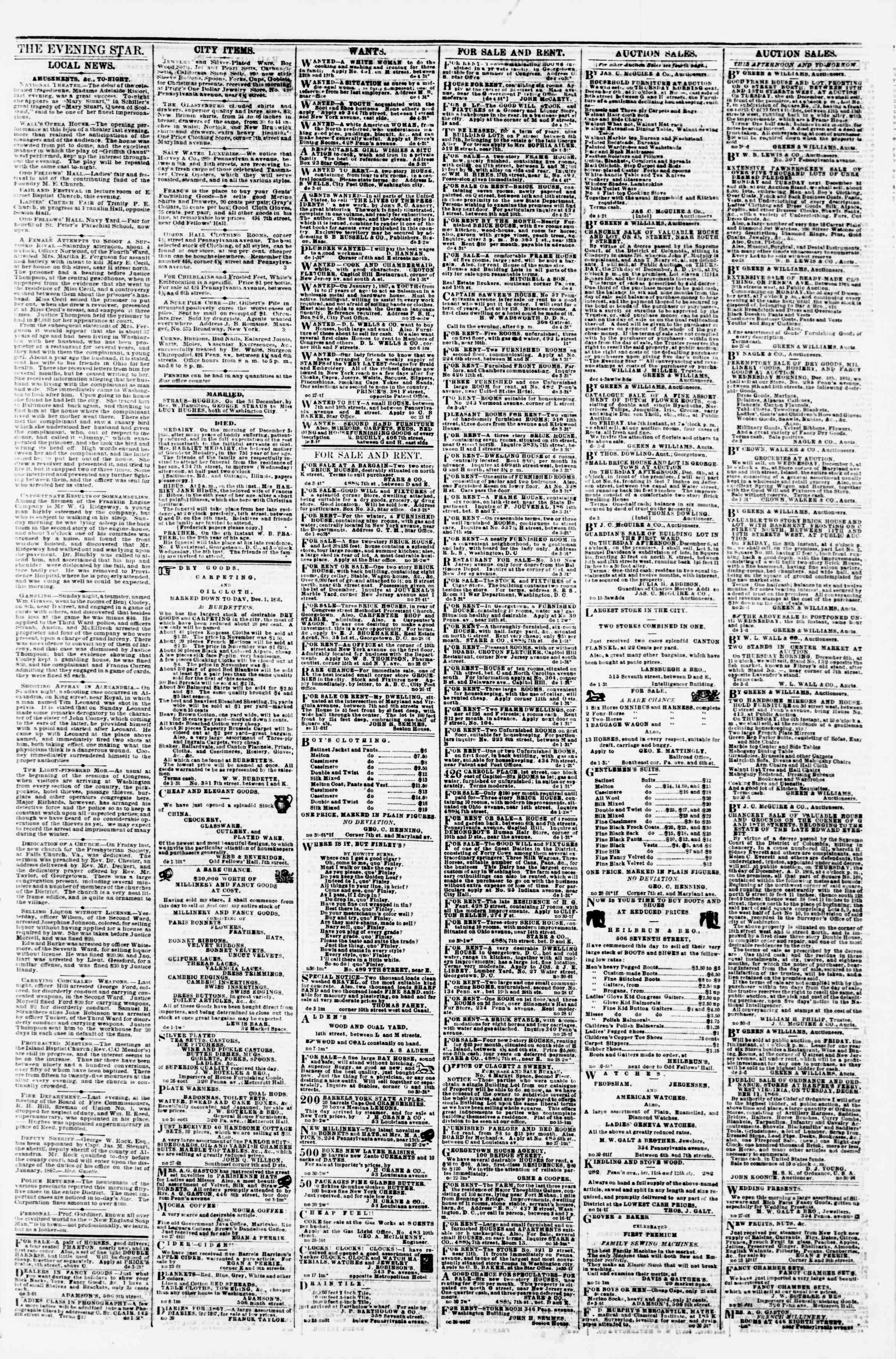 Newspaper of Evening Star dated December 4, 1866 Page 3