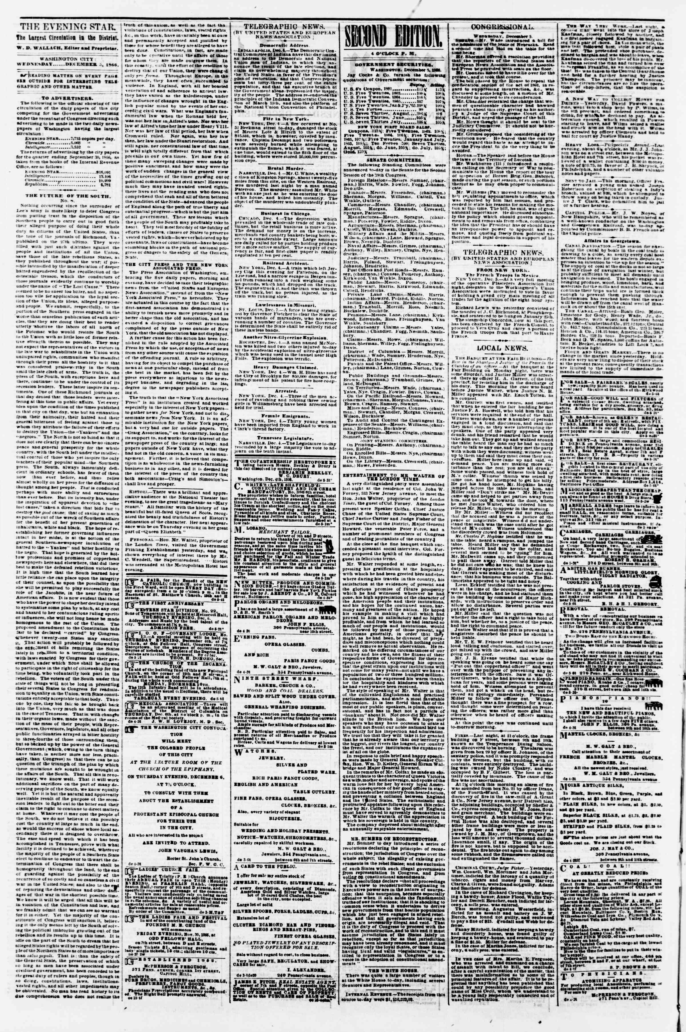 Newspaper of Evening Star dated December 5, 1866 Page 2