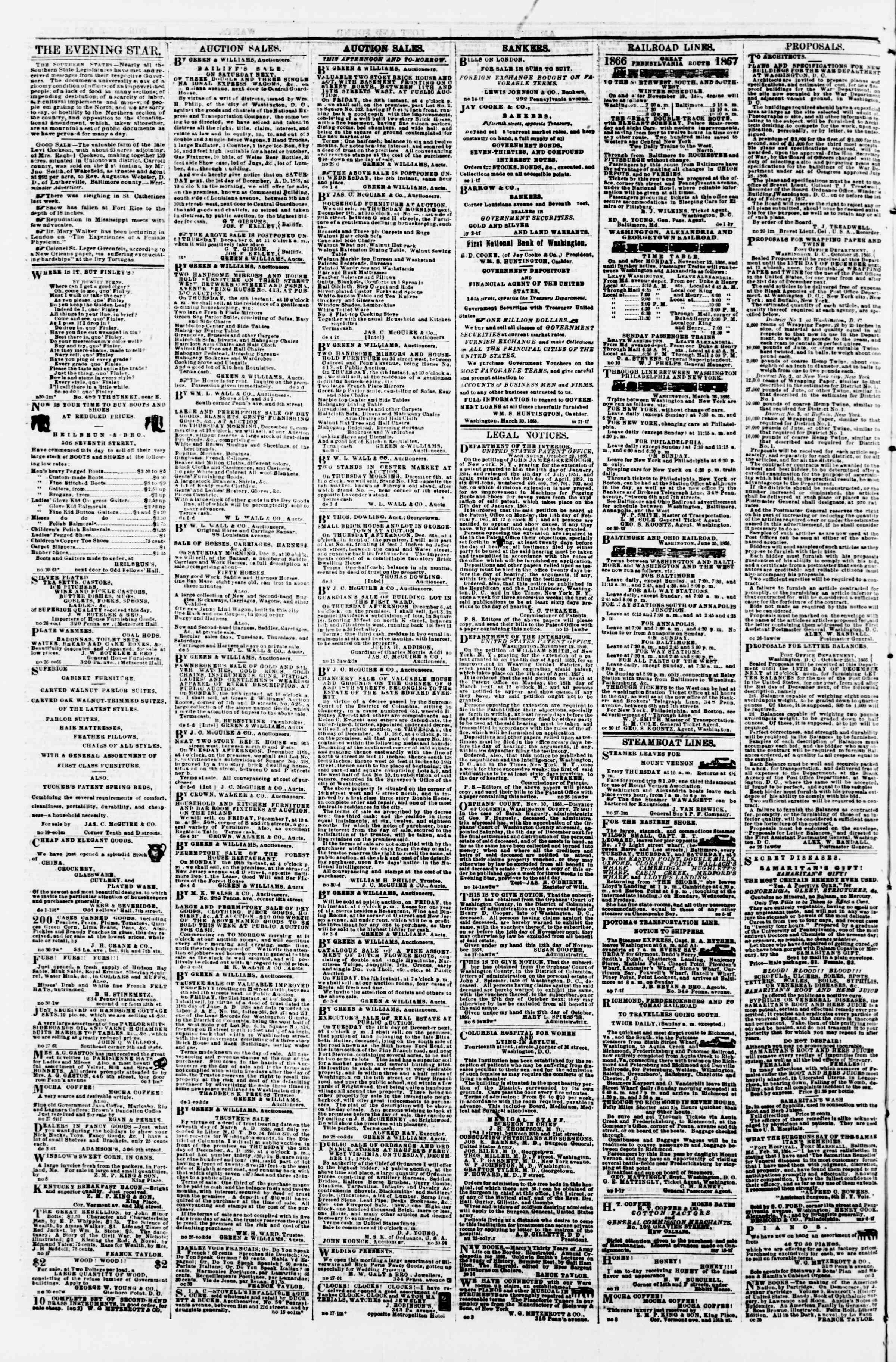 Newspaper of Evening Star dated December 5, 1866 Page 4