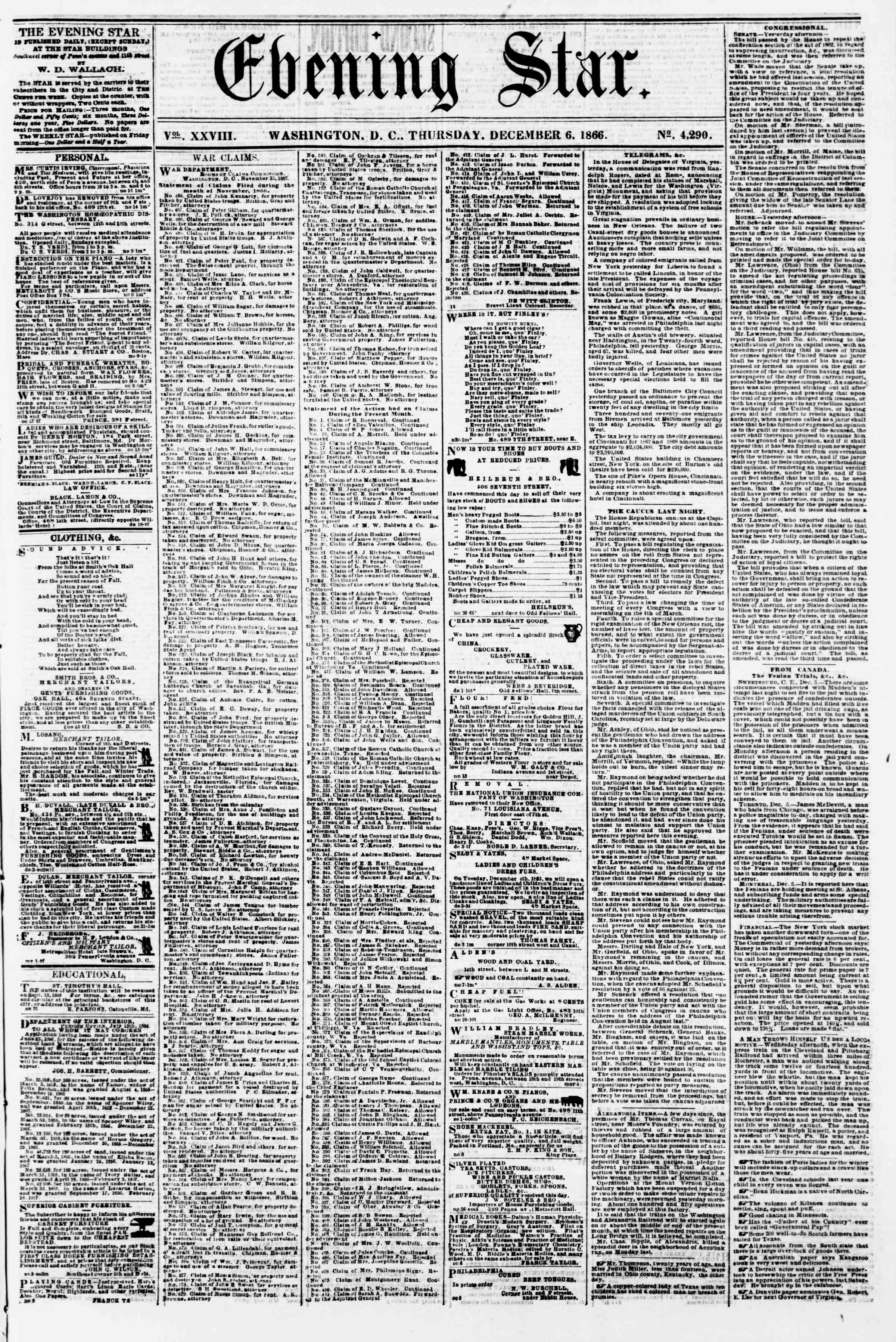 Newspaper of Evening Star dated December 6, 1866 Page 1