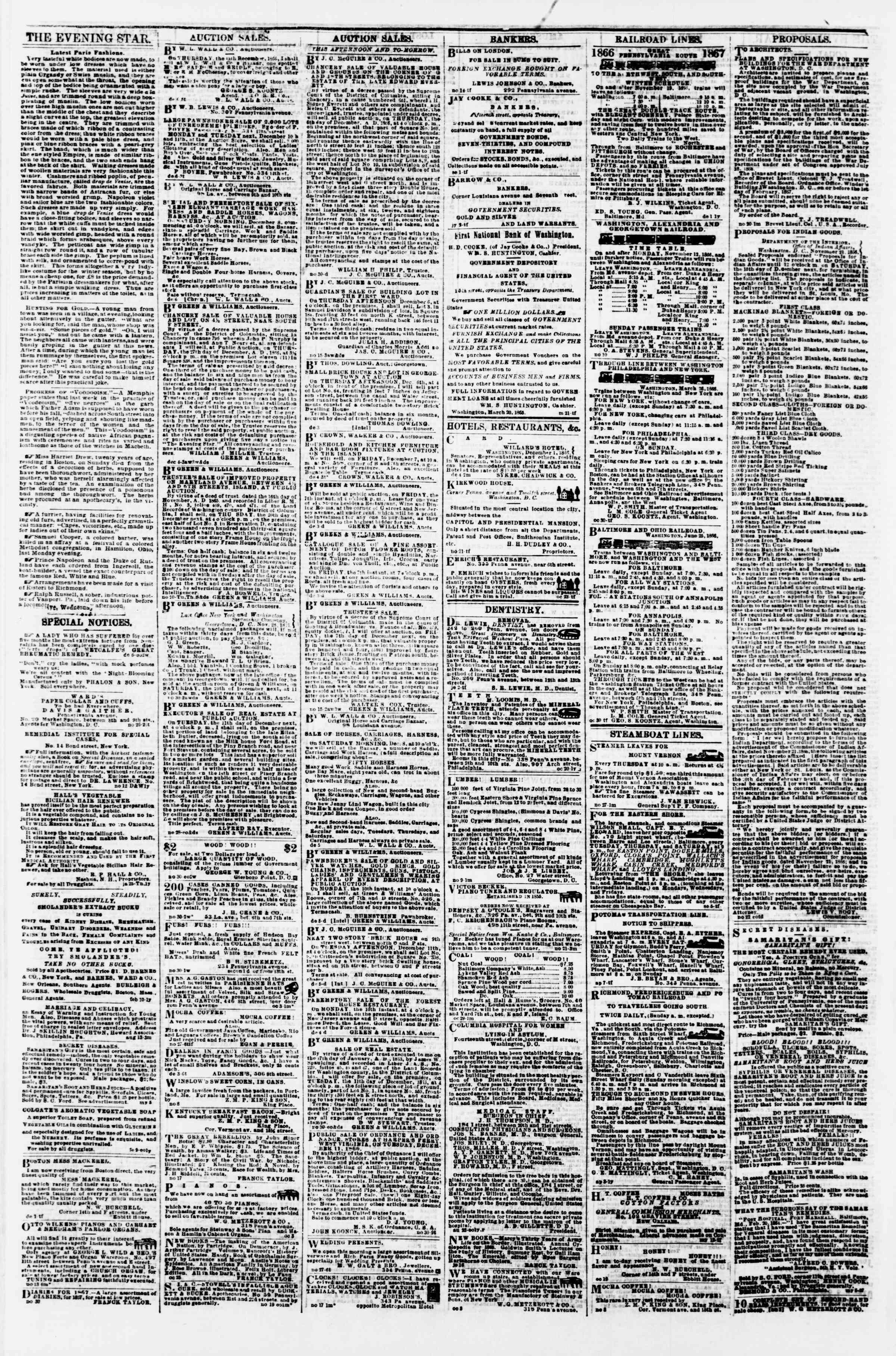 Newspaper of Evening Star dated December 6, 1866 Page 4