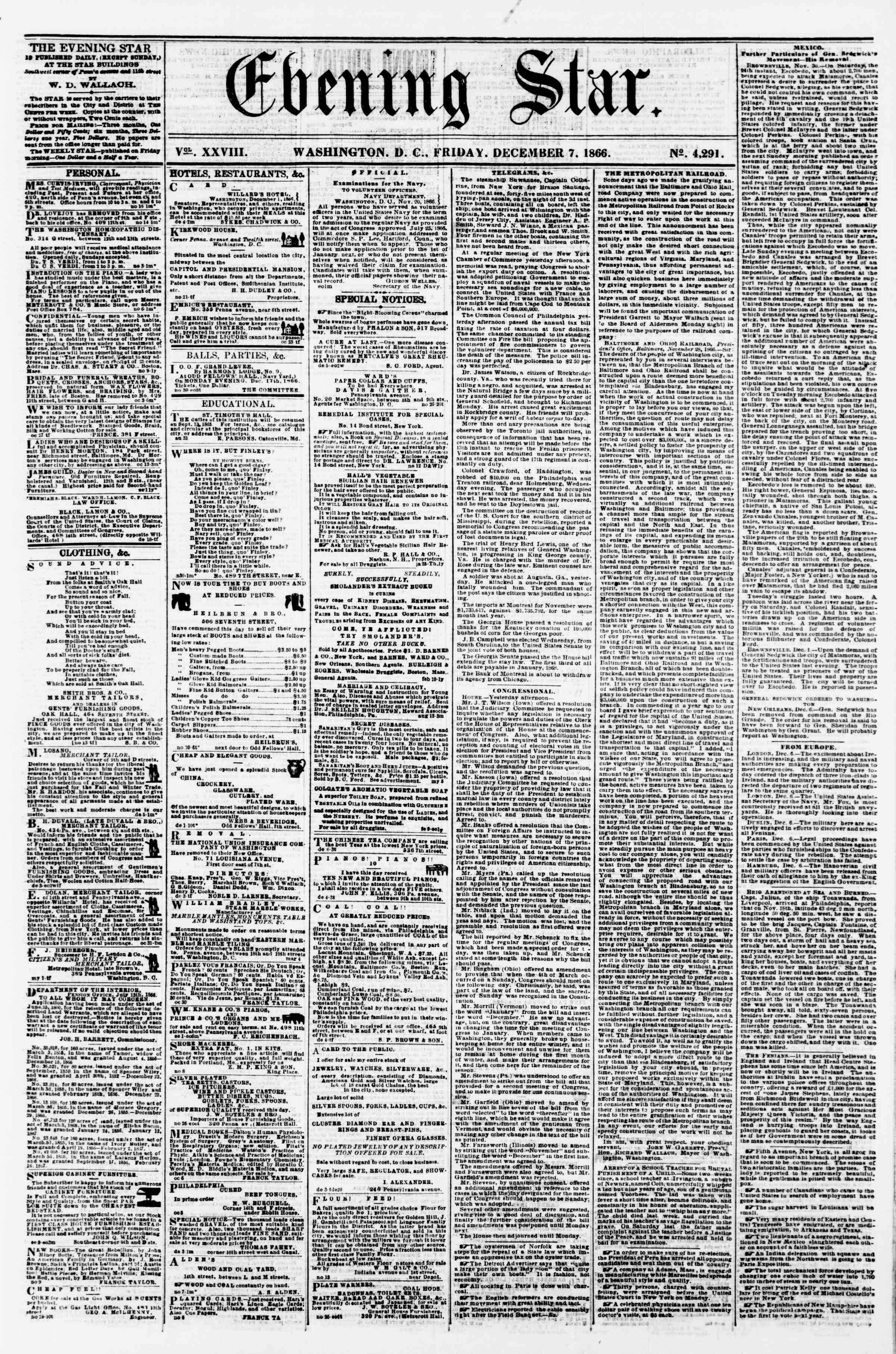 Newspaper of Evening Star dated December 7, 1866 Page 1