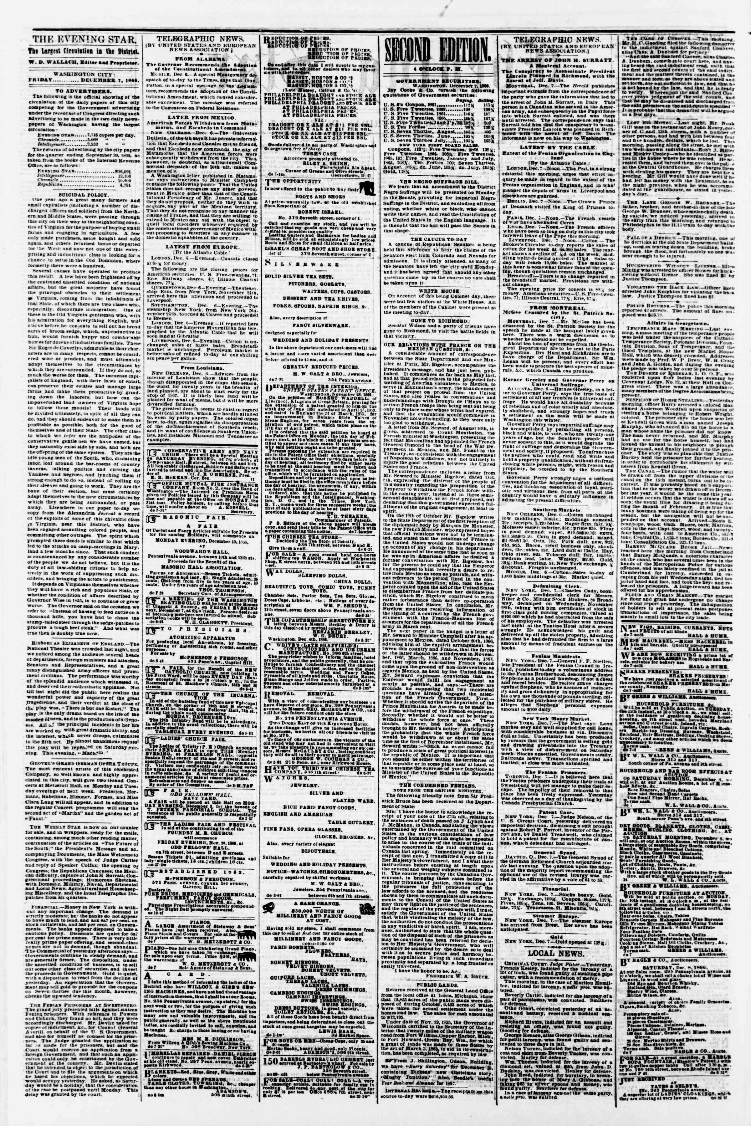 Newspaper of Evening Star dated December 7, 1866 Page 2