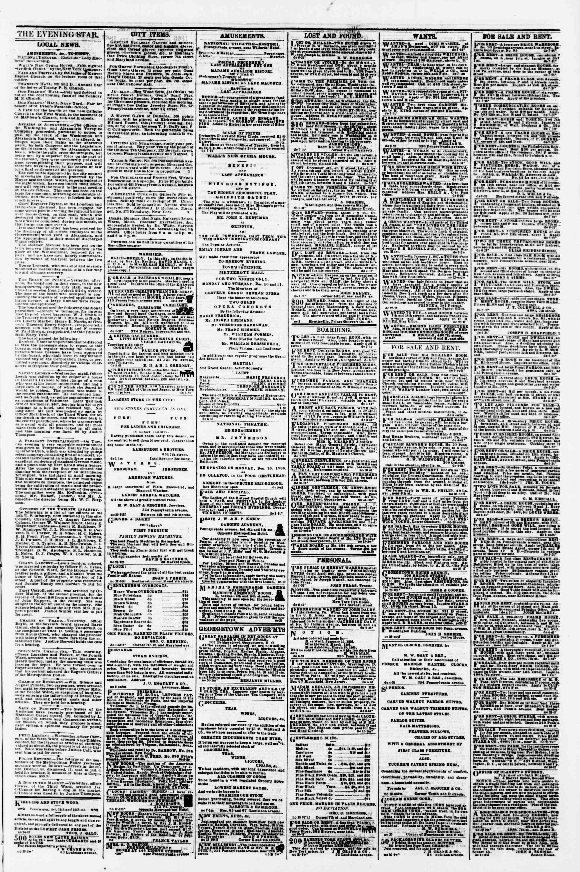 Newspaper of Evening Star dated December 7, 1866 Page 3