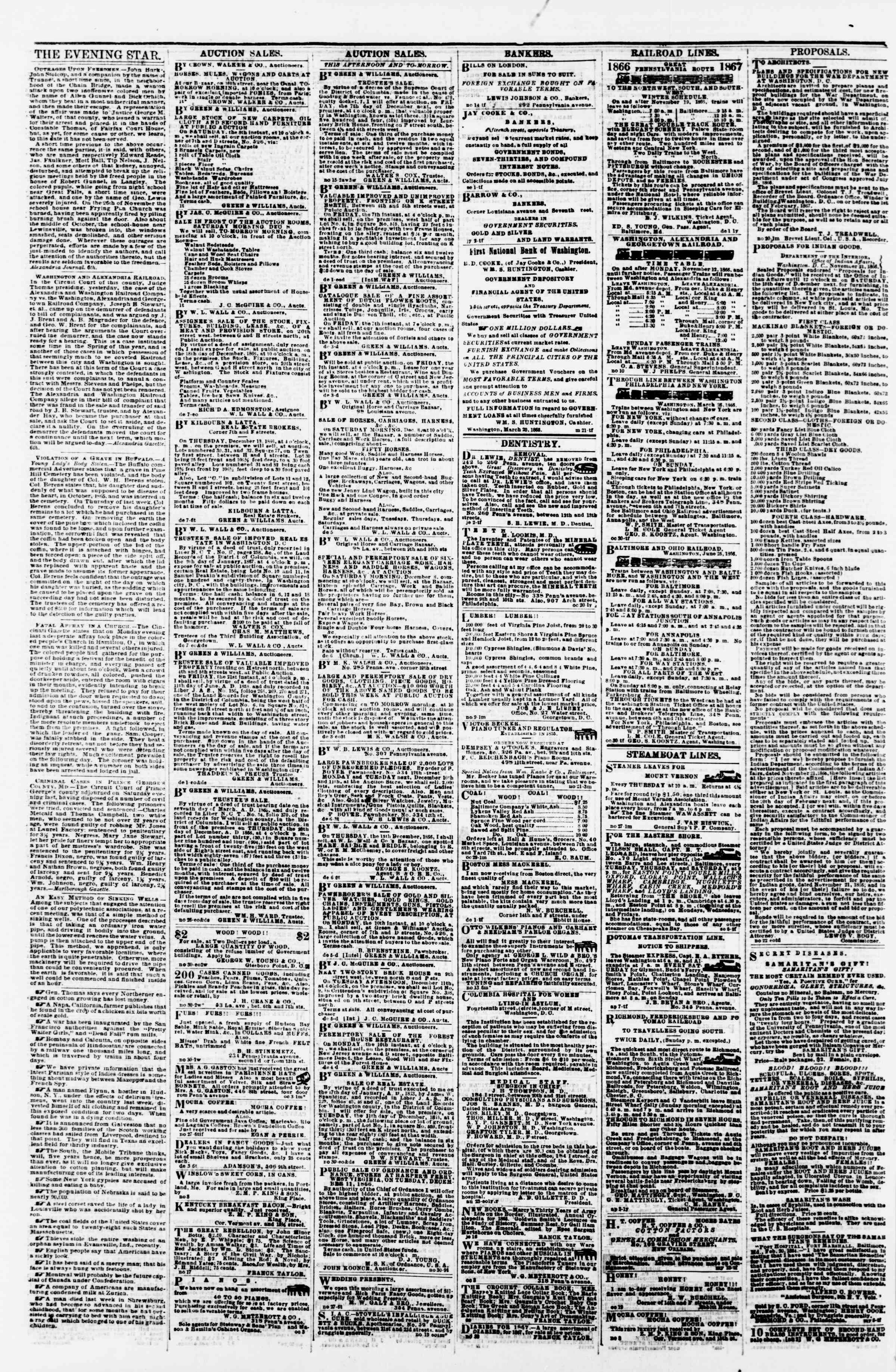 Newspaper of Evening Star dated December 7, 1866 Page 4