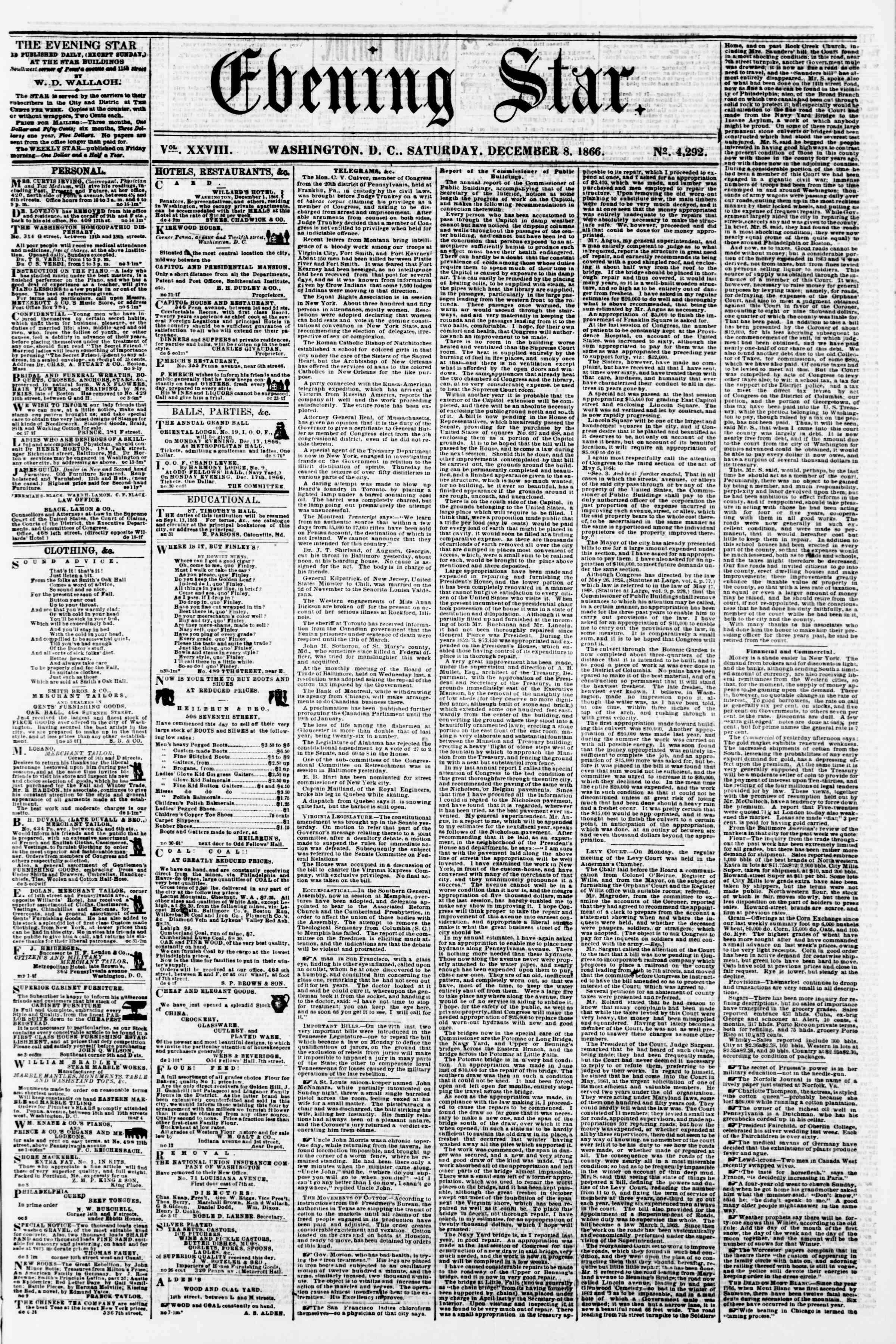 Newspaper of Evening Star dated December 8, 1866 Page 1
