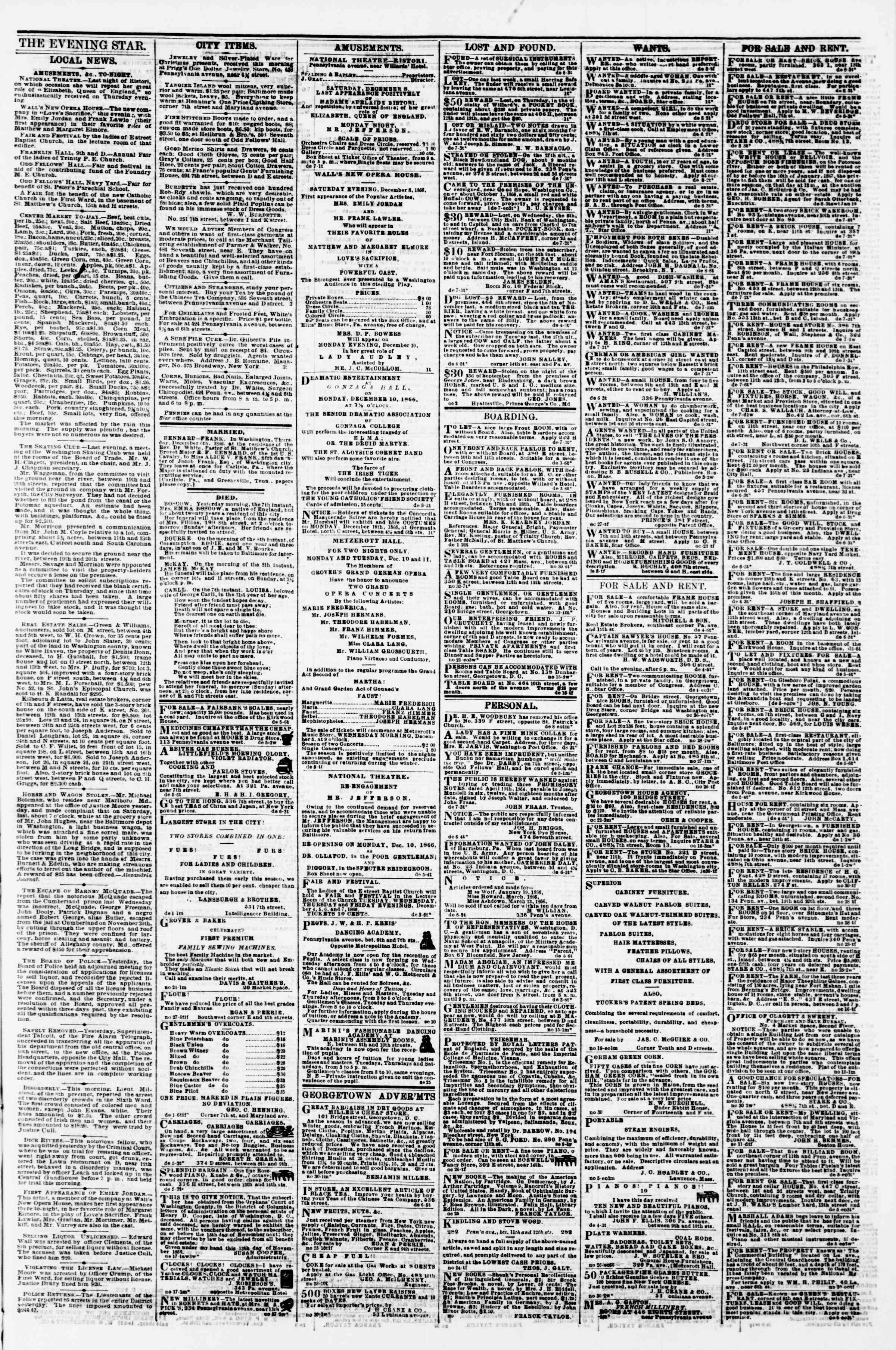 Newspaper of Evening Star dated December 8, 1866 Page 3