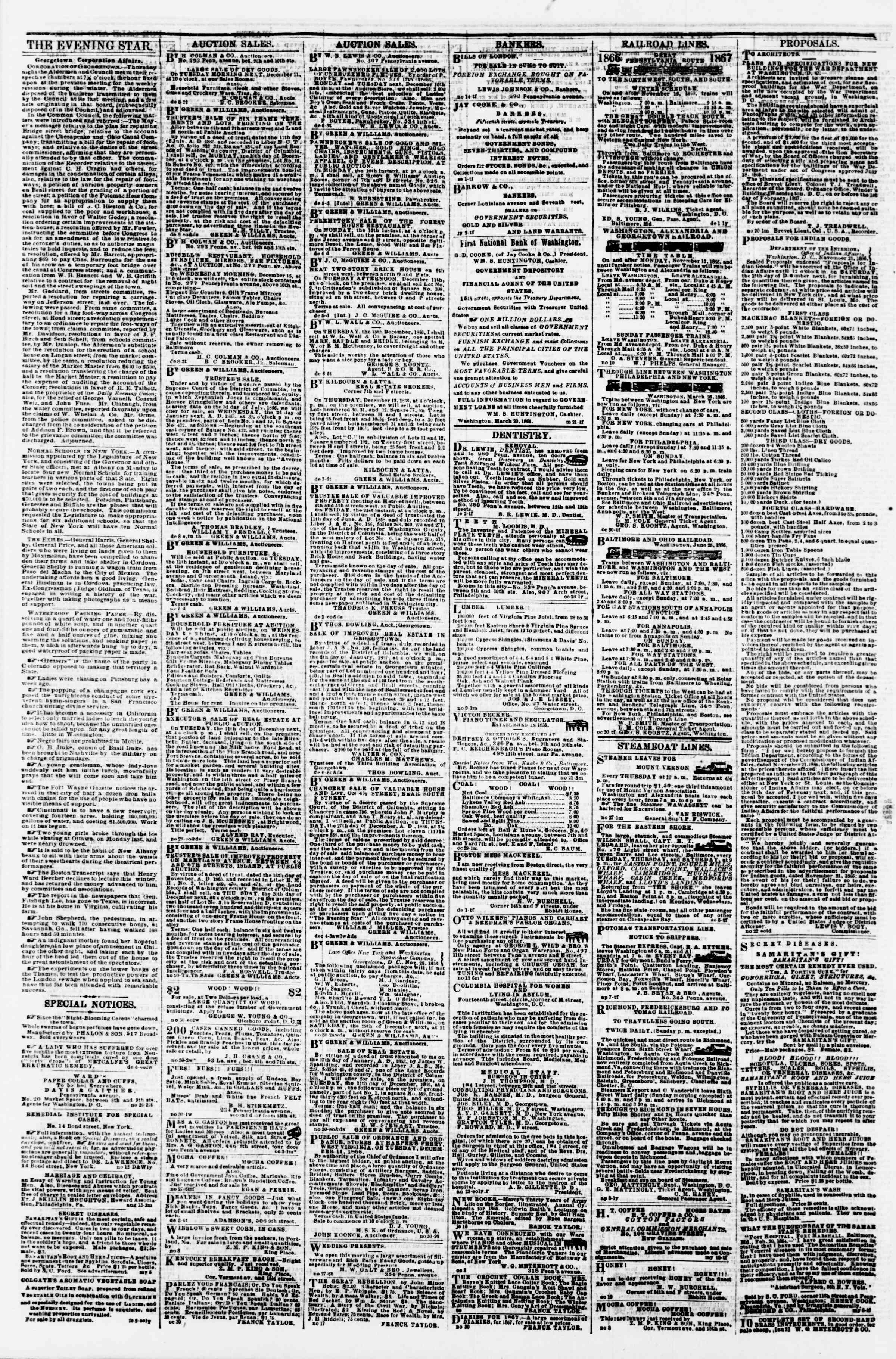 Newspaper of Evening Star dated December 8, 1866 Page 4
