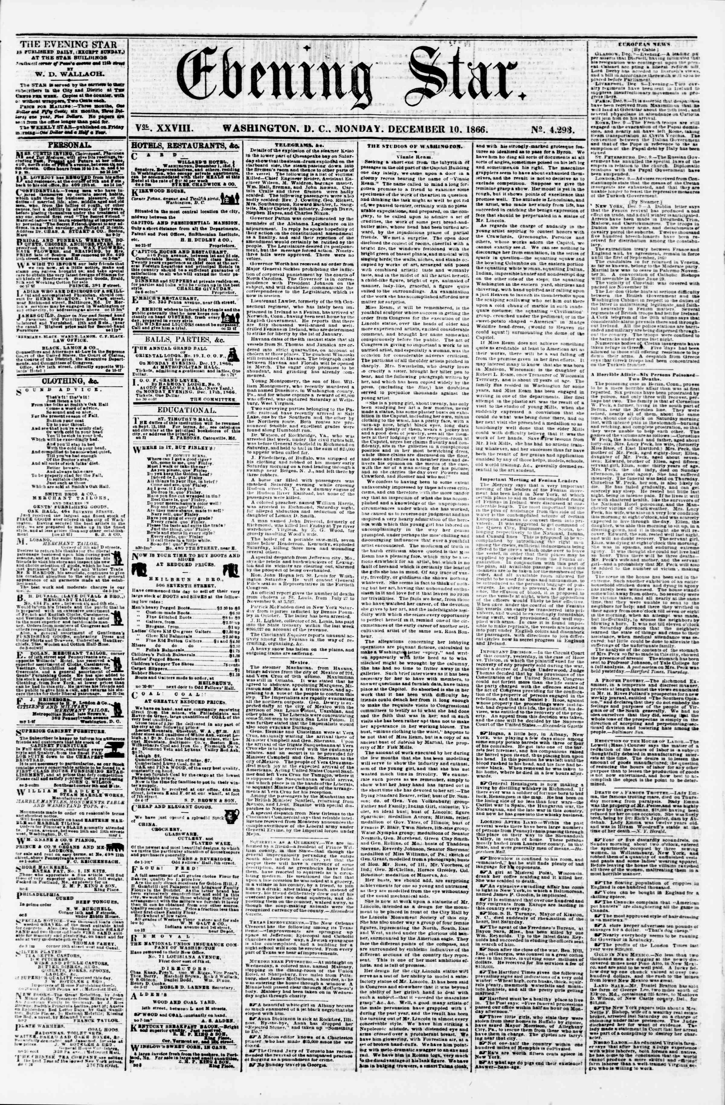 Newspaper of Evening Star dated December 10, 1866 Page 1