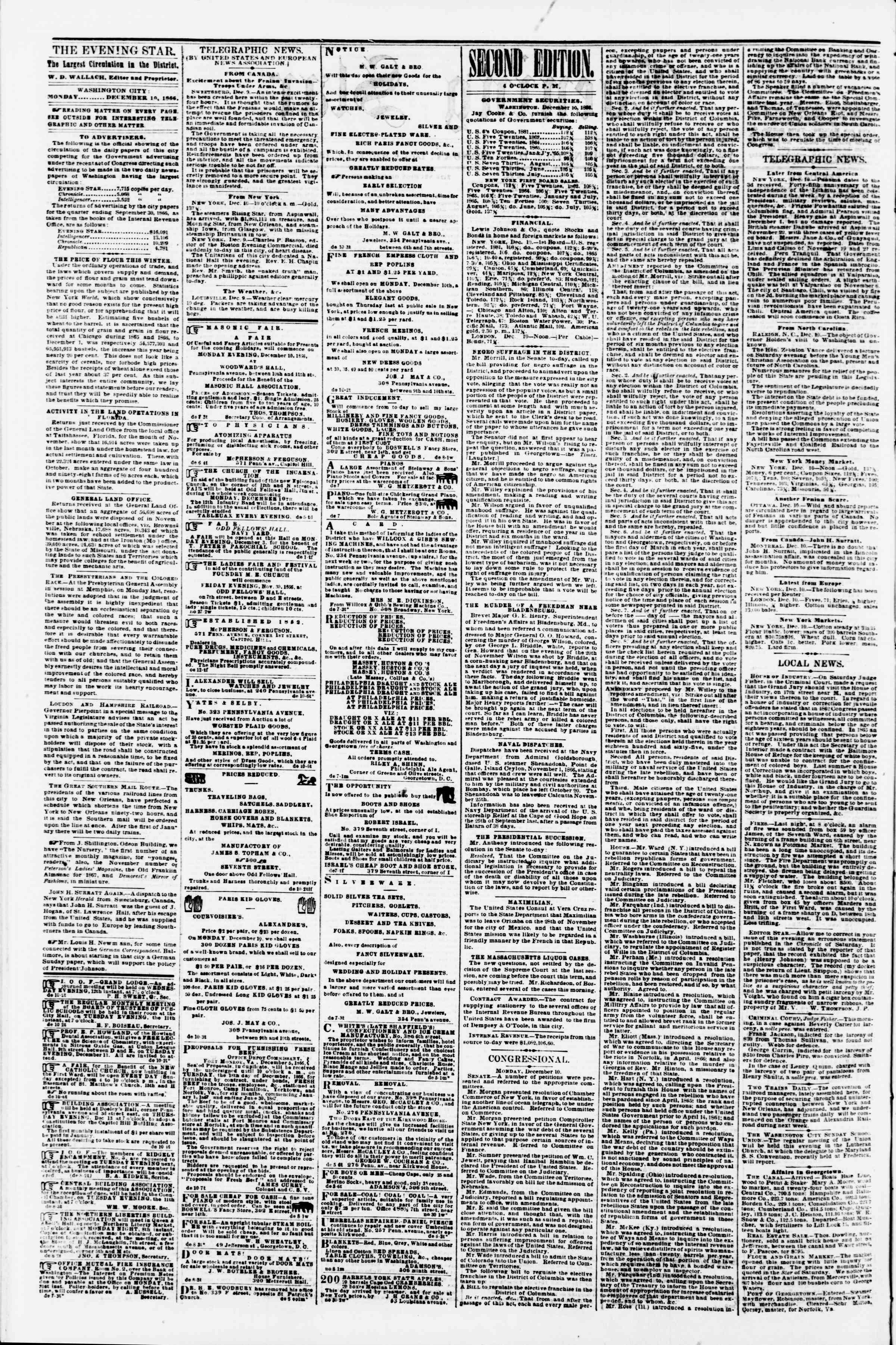Newspaper of Evening Star dated December 10, 1866 Page 2