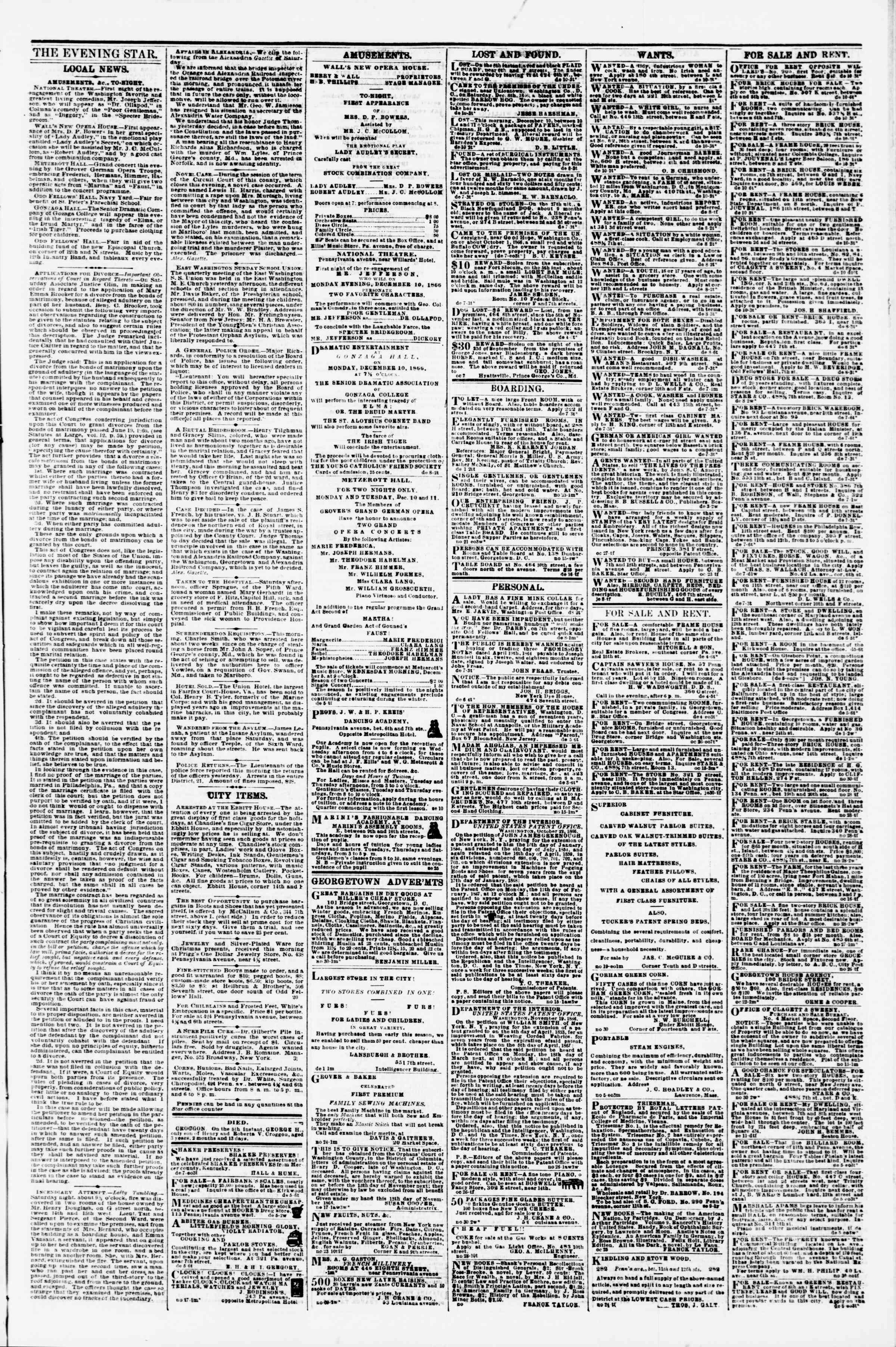 Newspaper of Evening Star dated December 10, 1866 Page 3