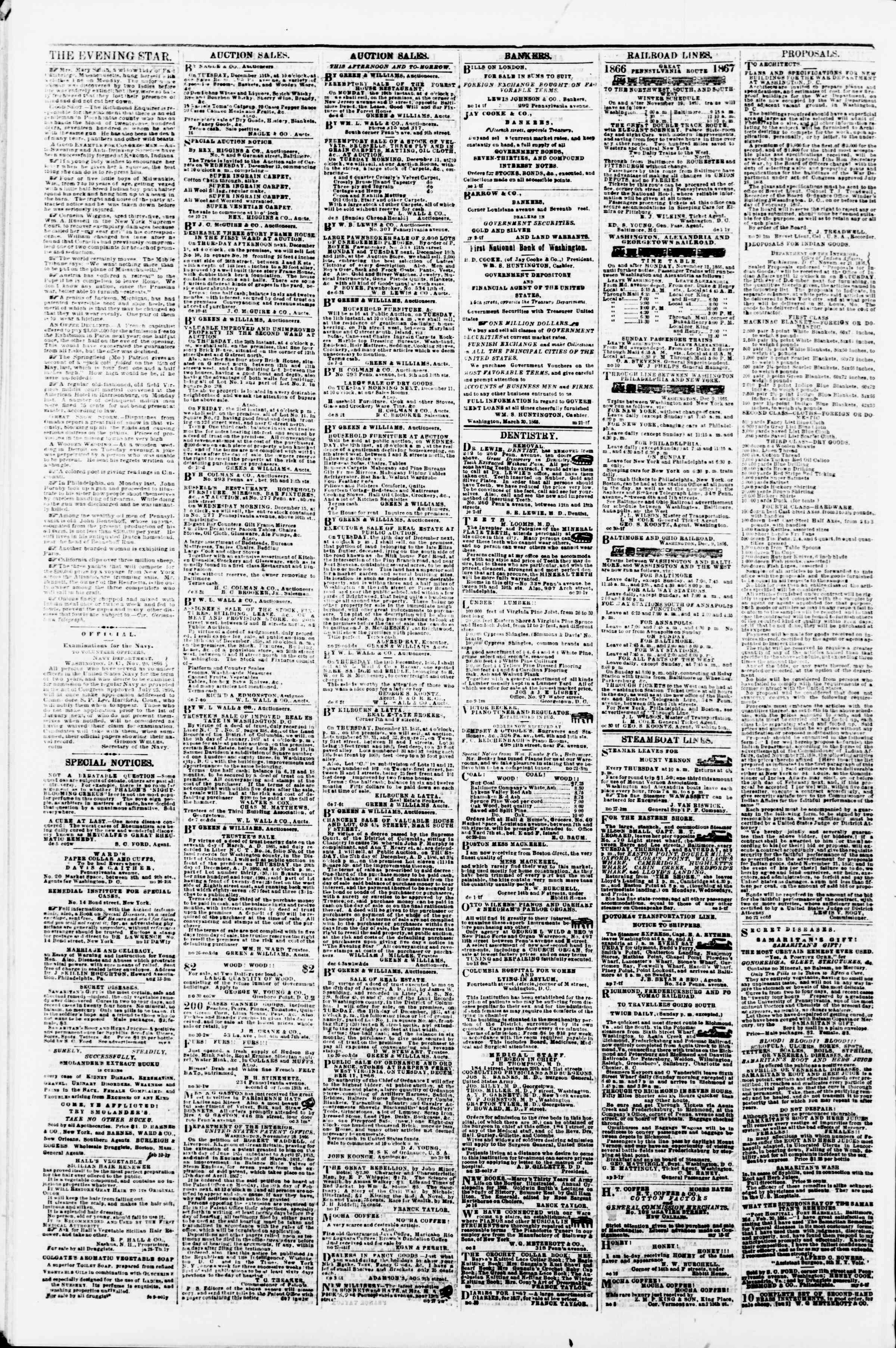 Newspaper of Evening Star dated December 10, 1866 Page 4