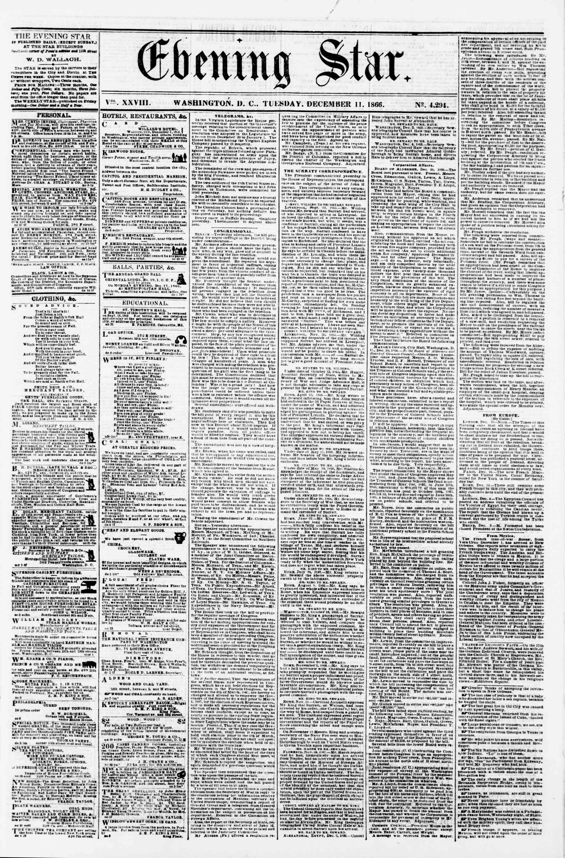 Newspaper of Evening Star dated December 11, 1866 Page 1